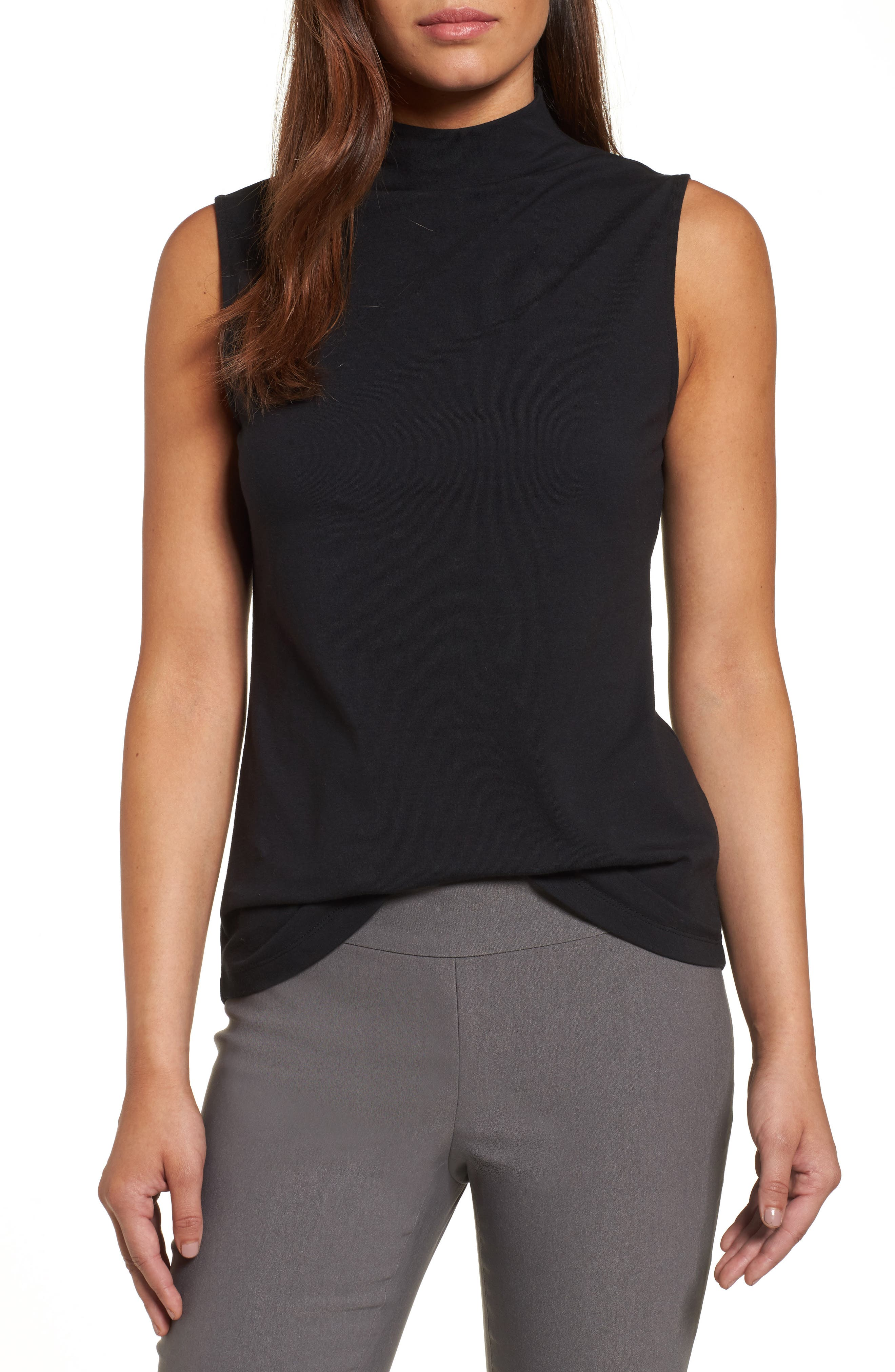 The Perfect Mock Neck Top,                         Main,                         color, Black Onyx