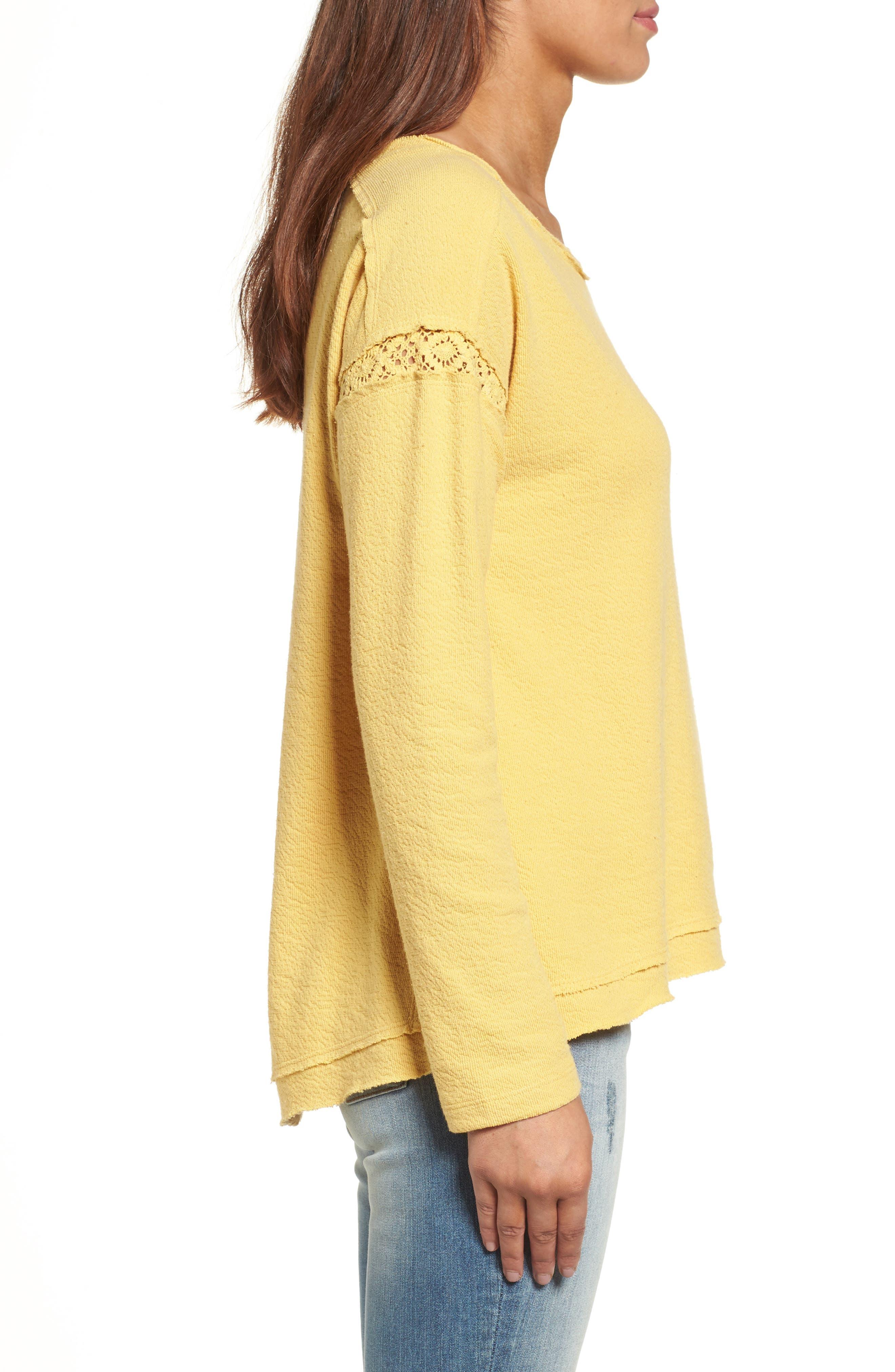 Alternate Image 3  - Caslon® Crochet Lace Trim Sweatshirt