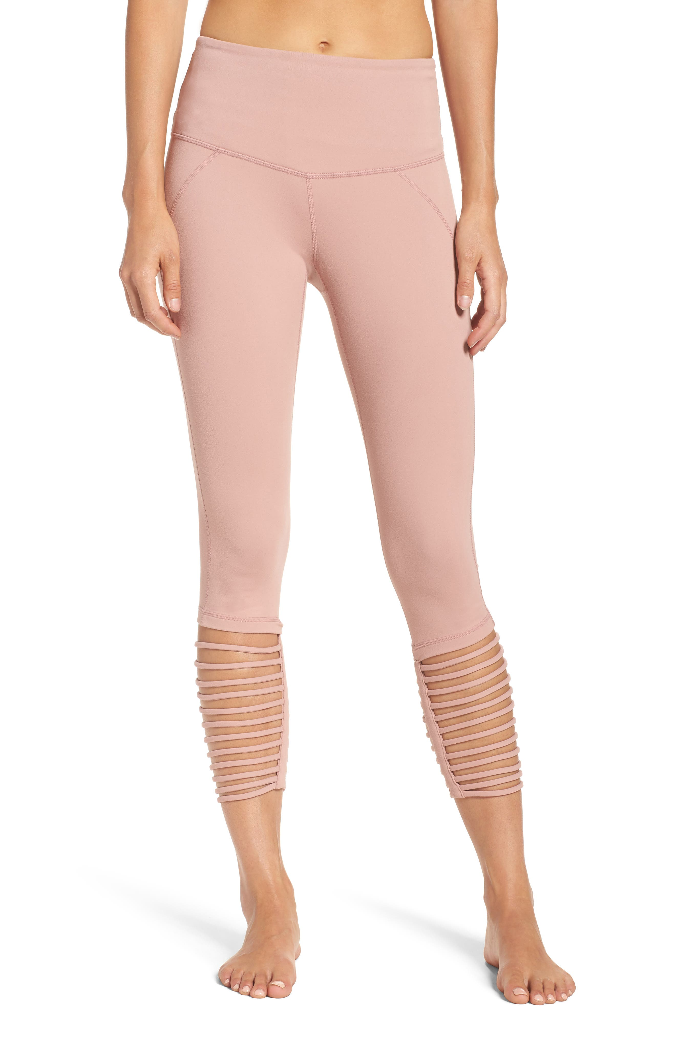 High Waist Midi Leggings,                         Main,                         color, Pink Dusk