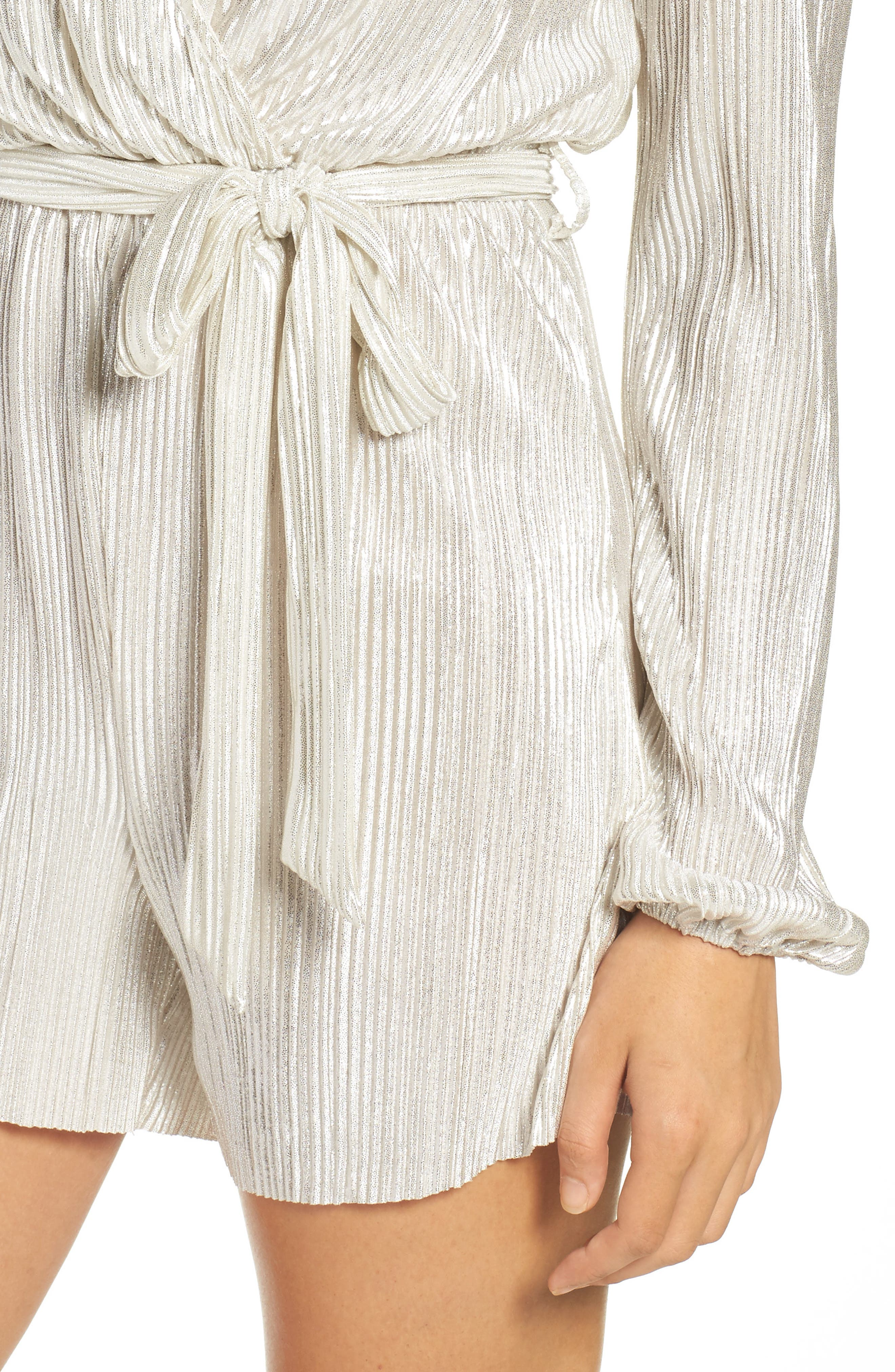 Ziggy Pleated Romper,                             Alternate thumbnail 4, color,                             Silver