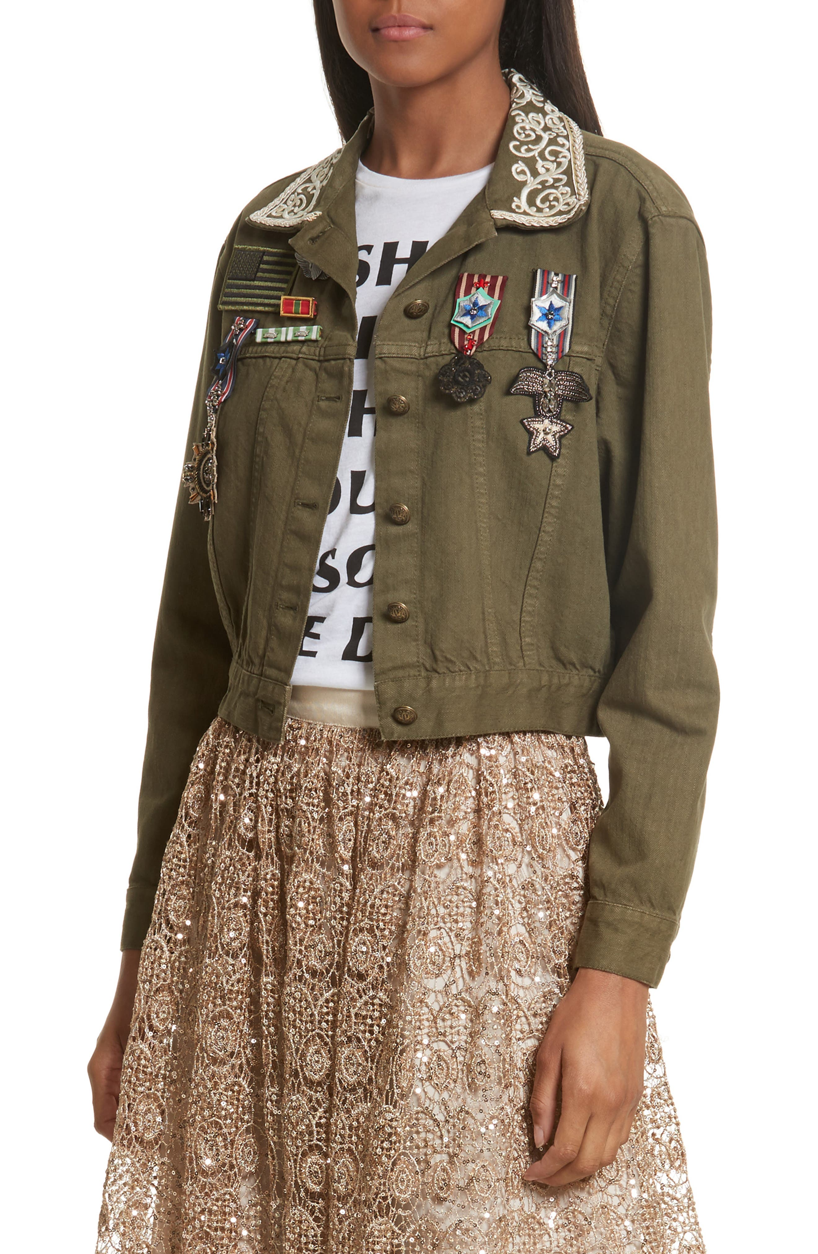 Chloe Embellished Crop Military Jacket,                         Main,                         color, Army