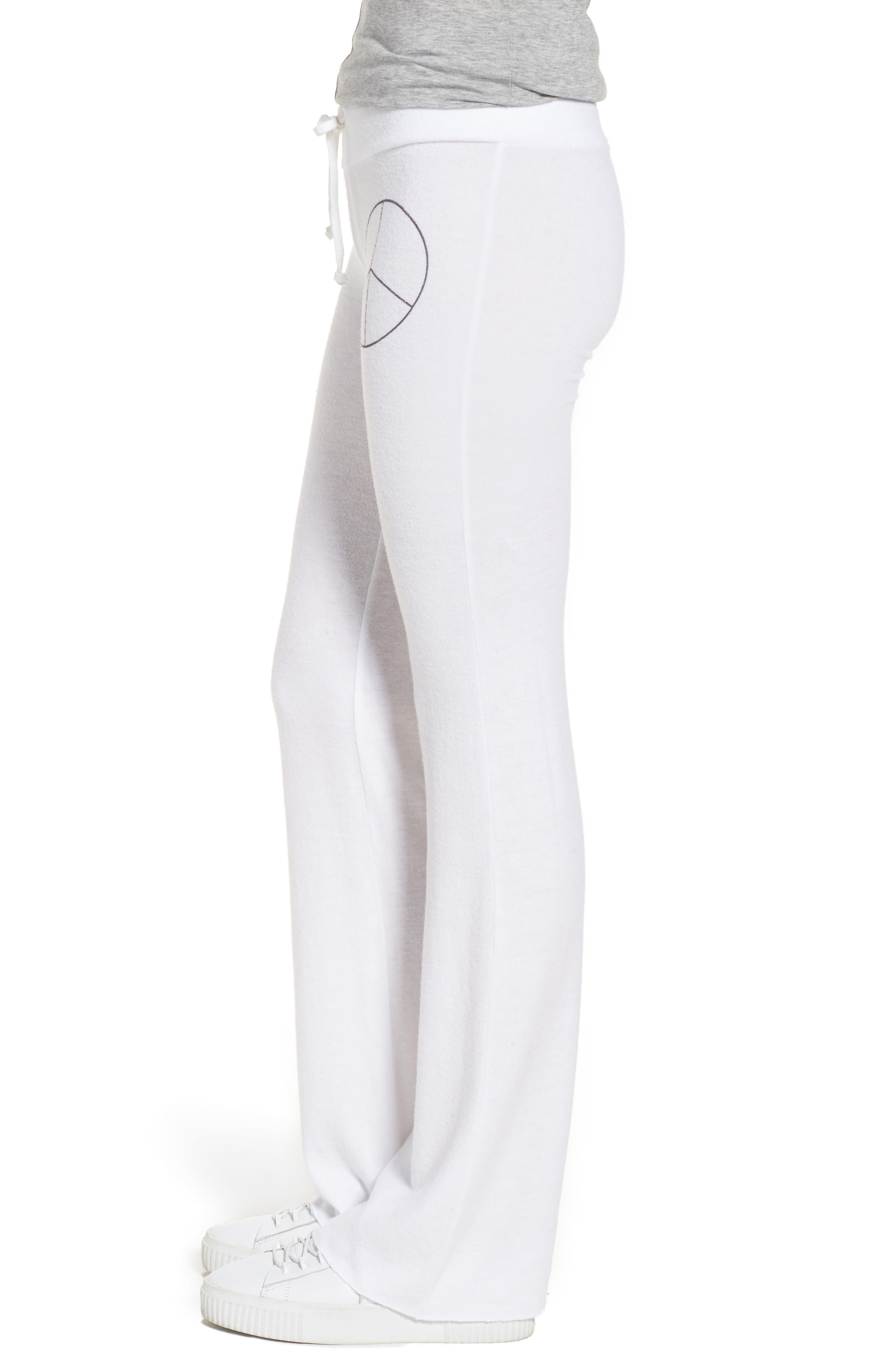 Peace Track Pants,                             Alternate thumbnail 4, color,                             White