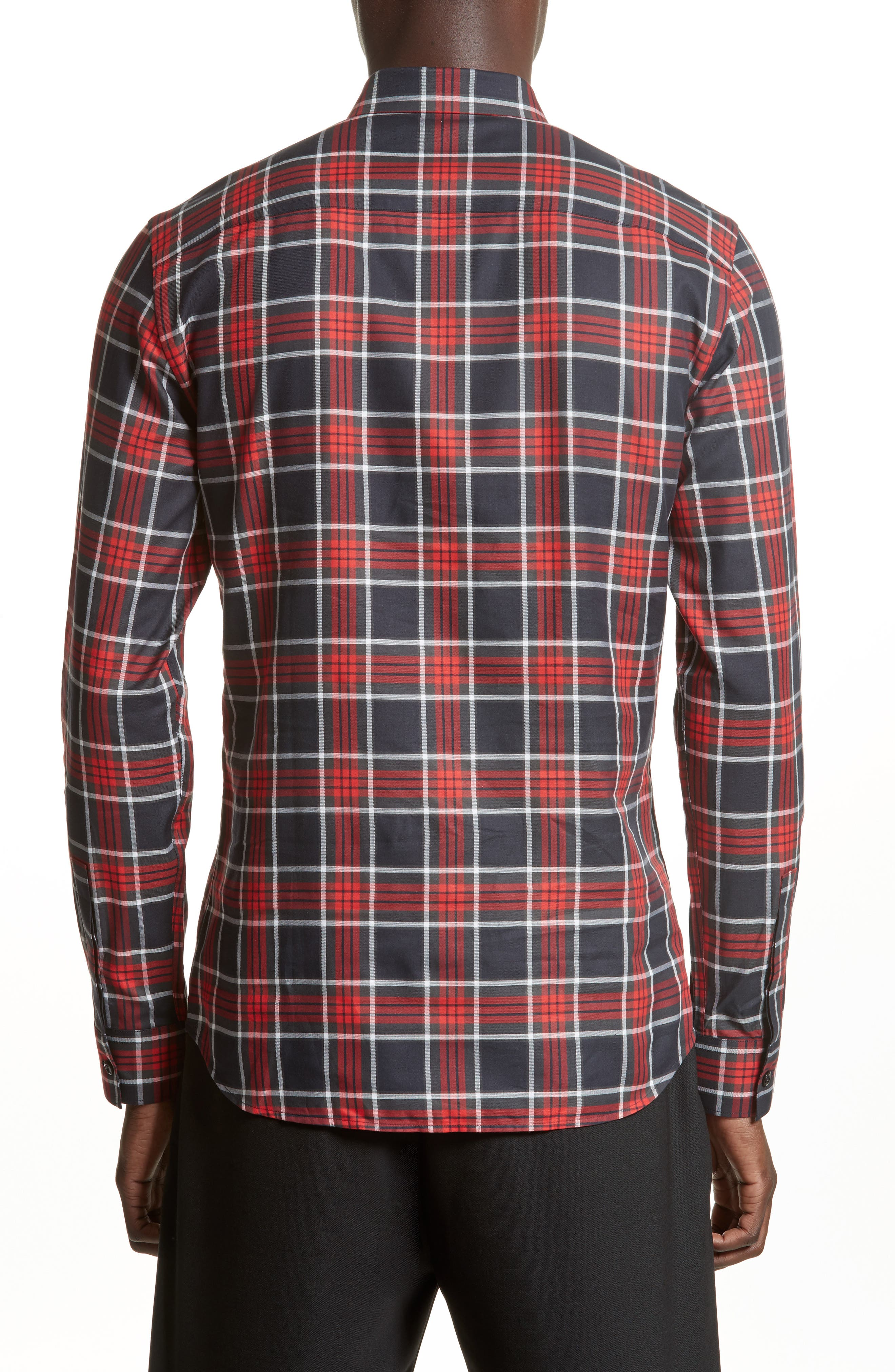 Panel Check Sport Shirt,                             Alternate thumbnail 2, color,                             Red