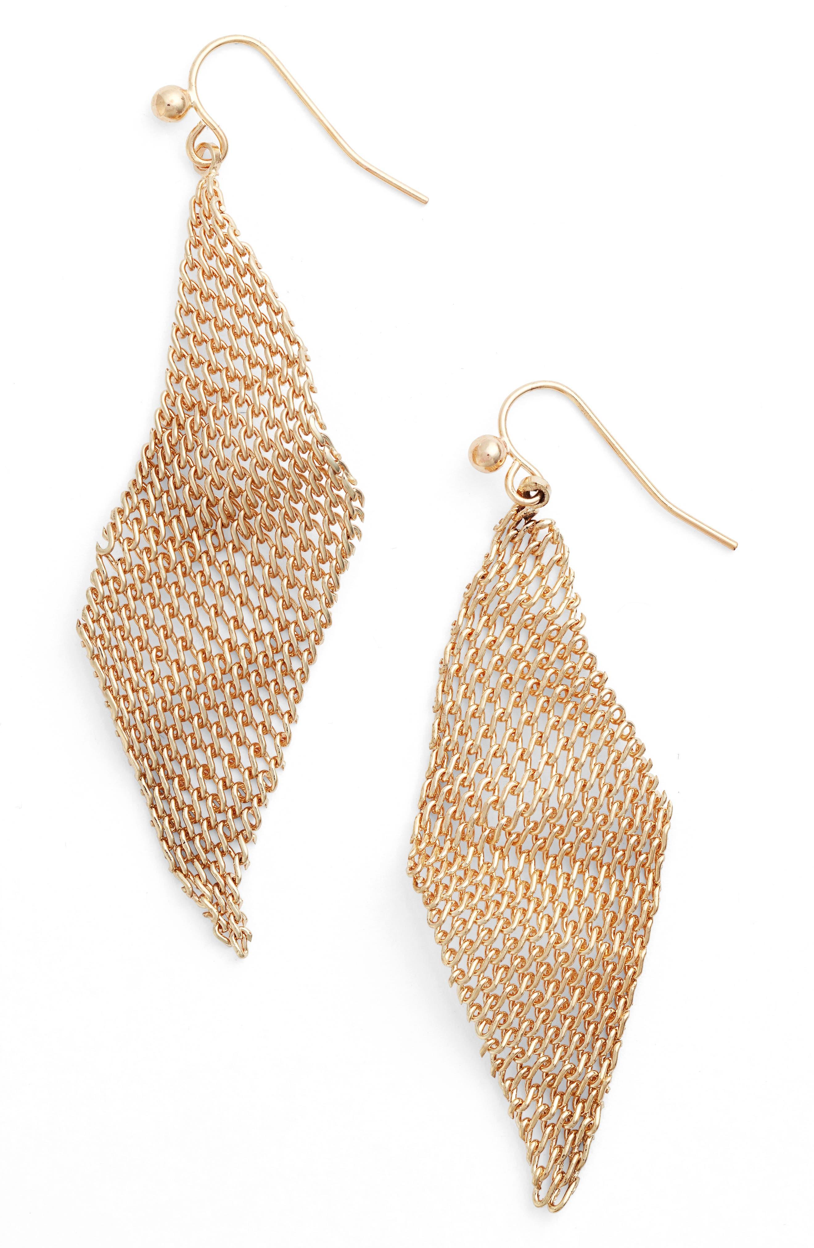 Mesh Wave Kite Earrings,                             Main thumbnail 1, color,                             Gold