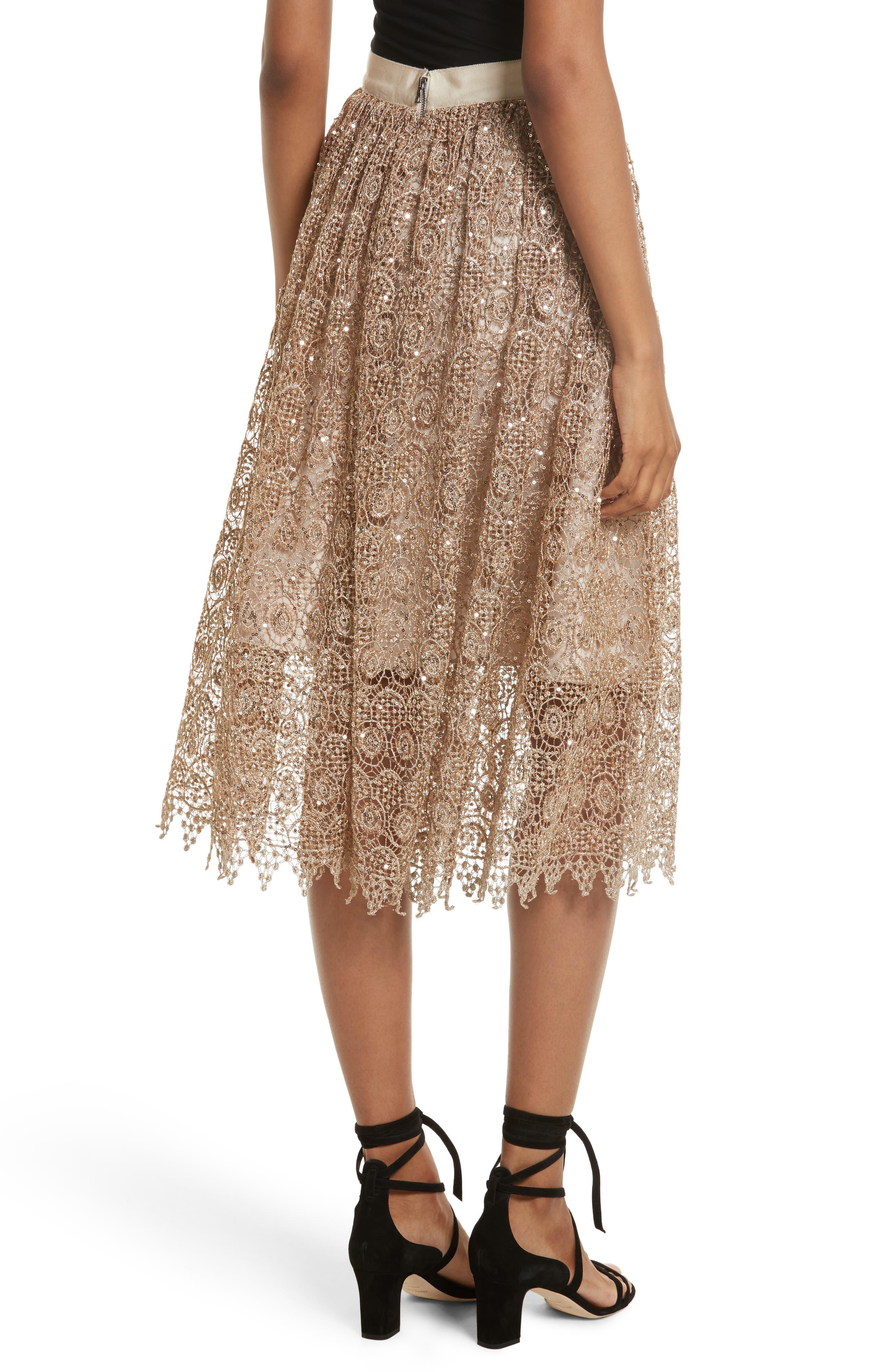 Metallic Lace Skirt,                             Alternate thumbnail 4, color,                             Gold