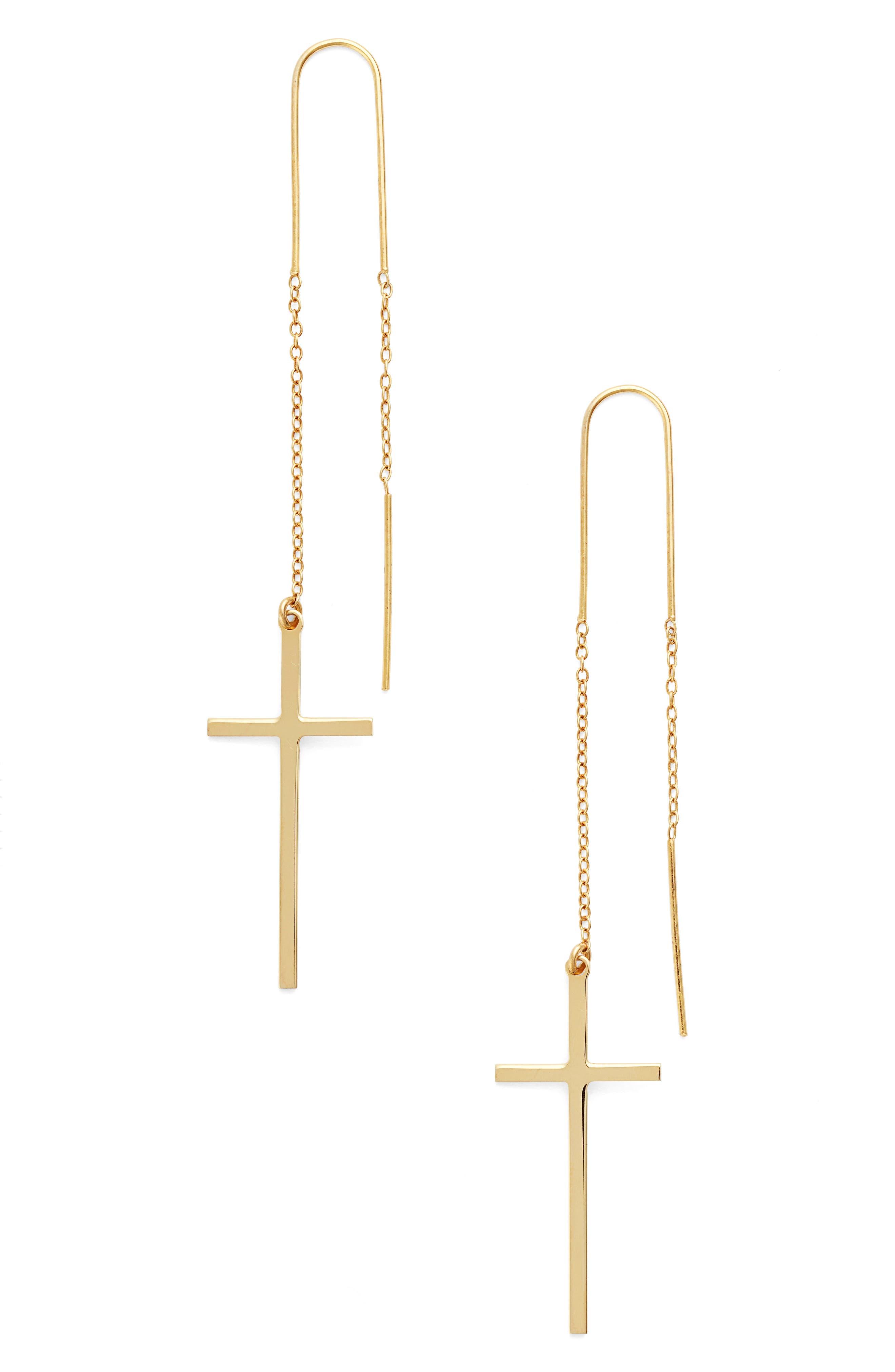 Cross Threader Earrings,                         Main,                         color, Gold