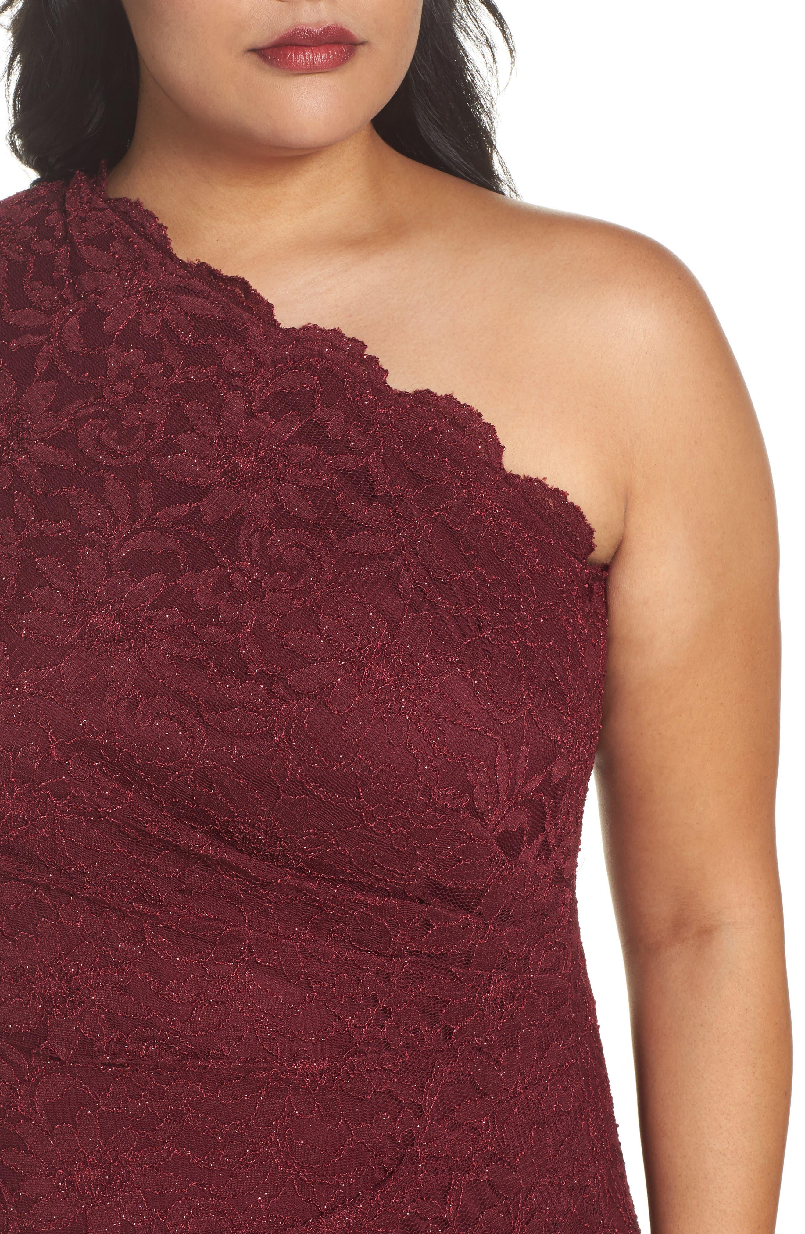 One Shoulder Glitter Lace Gown,                             Alternate thumbnail 4, color,                             Merlot