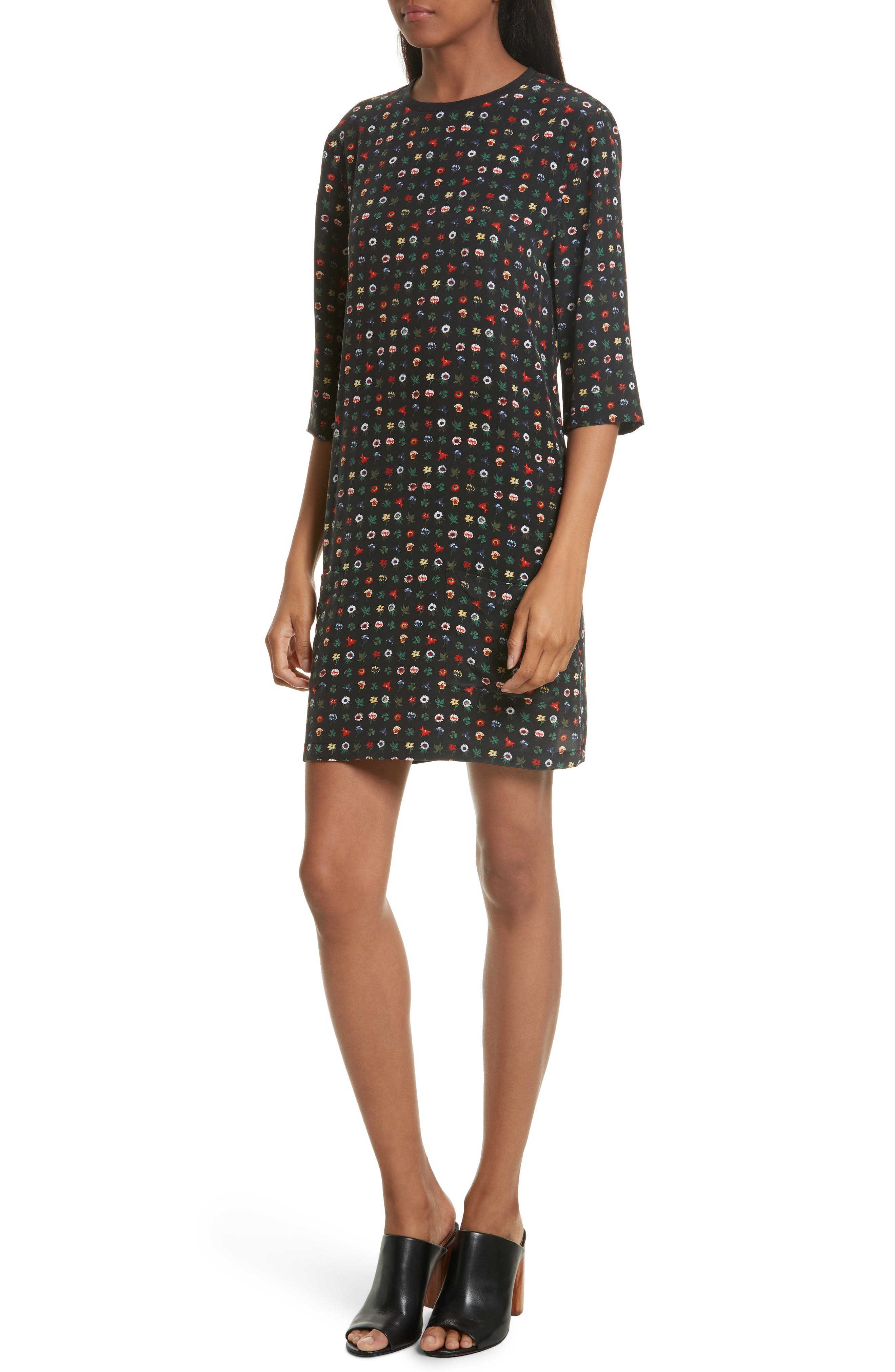 Aubrey Floral Silk Shift Dress,                         Main,                         color, True Black Multi