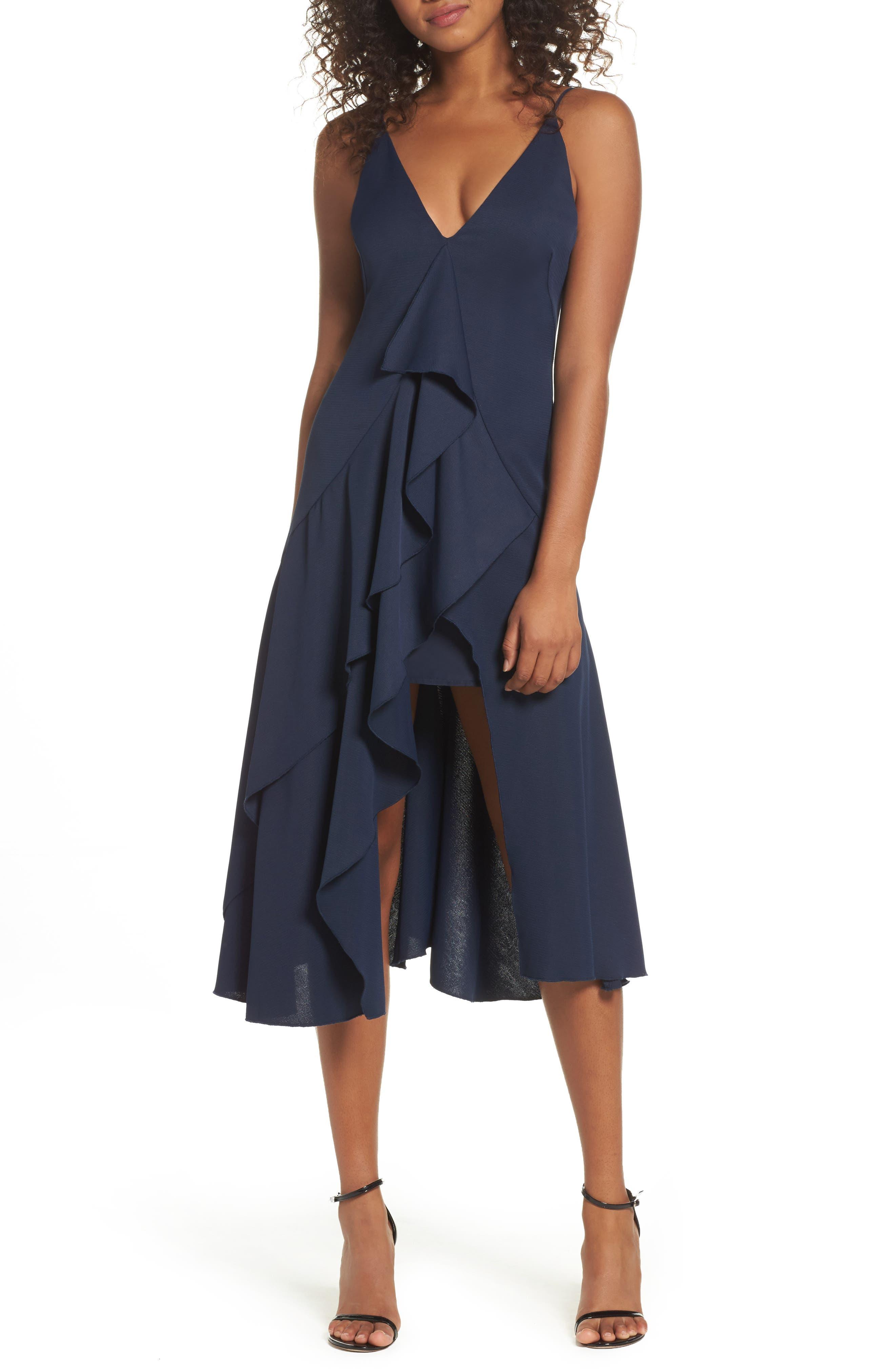Gossamer Asymmetrical Ruffle Slipdress,                         Main,                         color, Navy