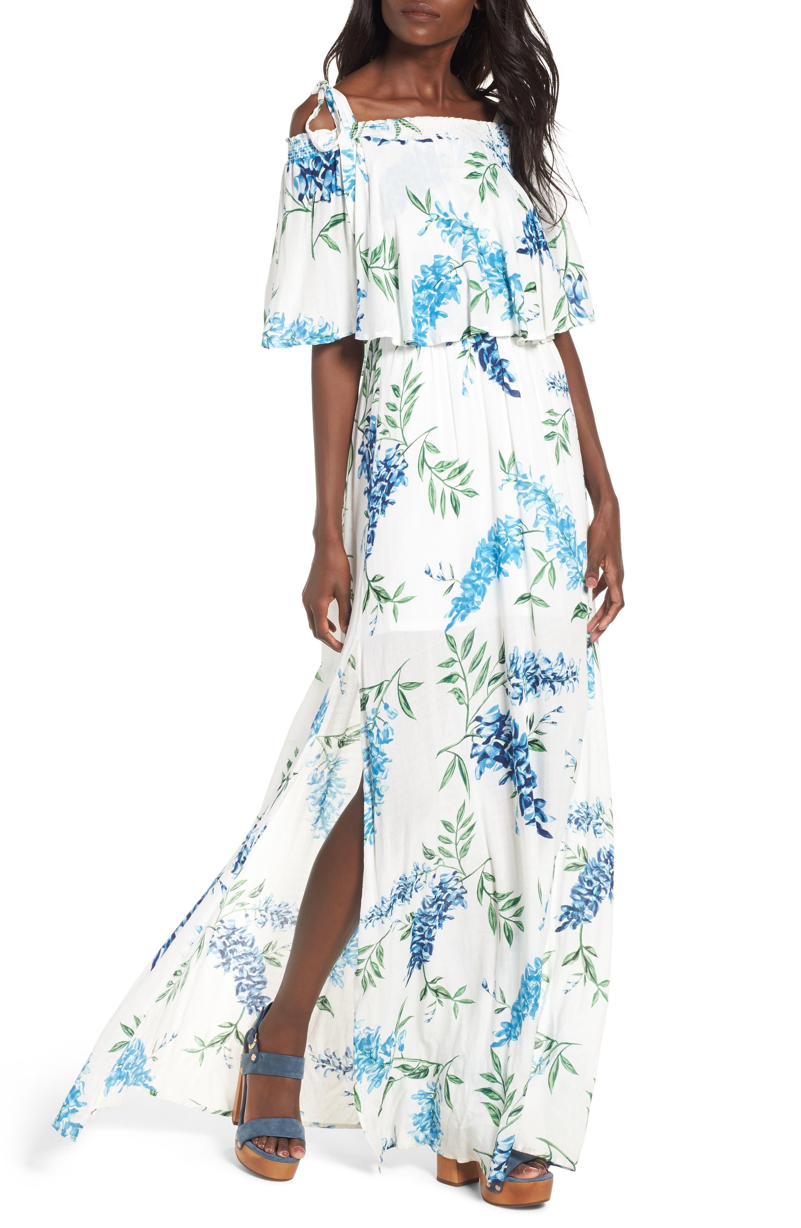 Nicola Ruffle Maxi Dress,                             Main thumbnail 1, color,                             Wisteria Wonder Challis