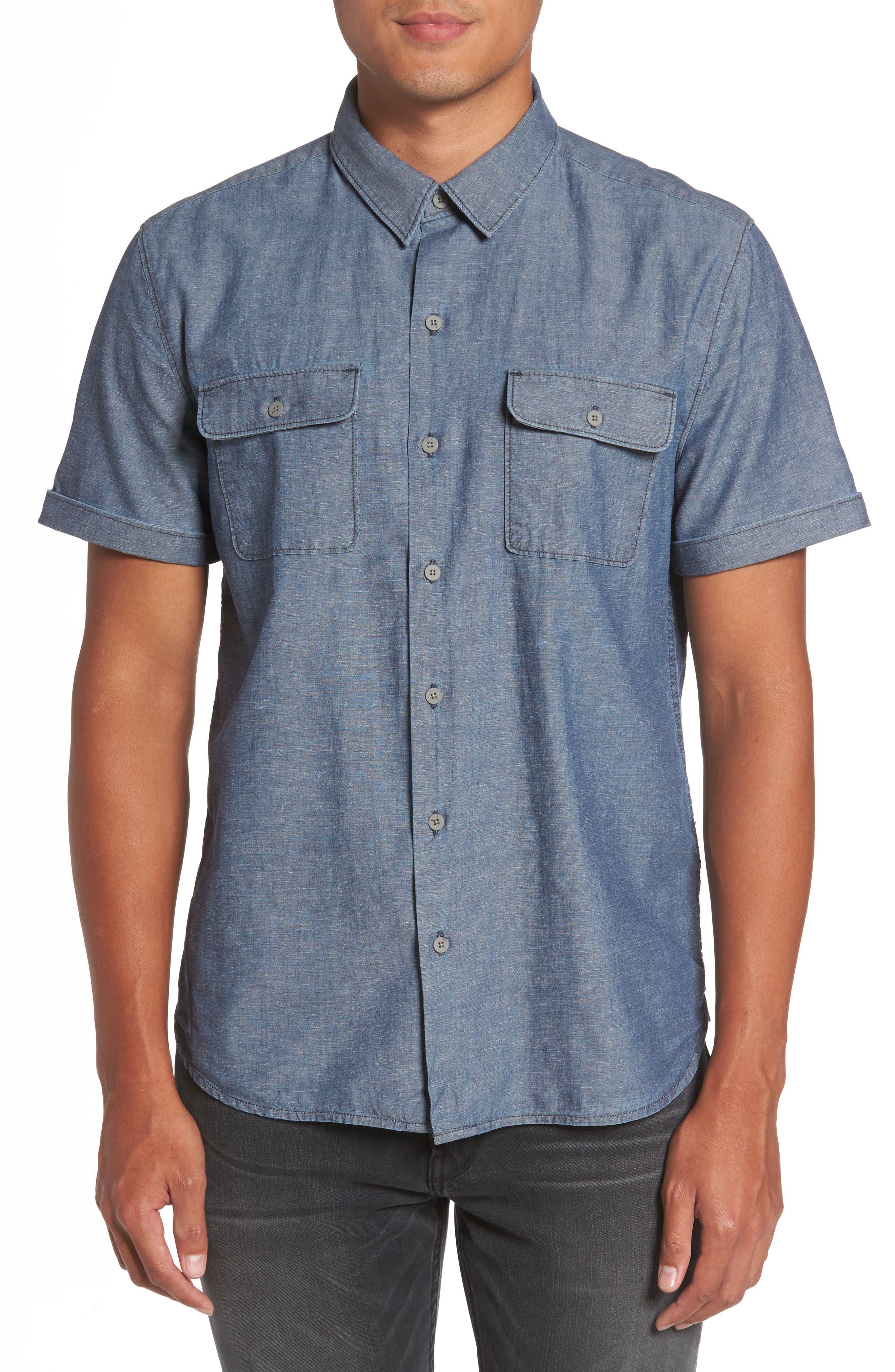 Flynn Lightweight Denim Shirt,                             Main thumbnail 1, color,                             Blue Wave