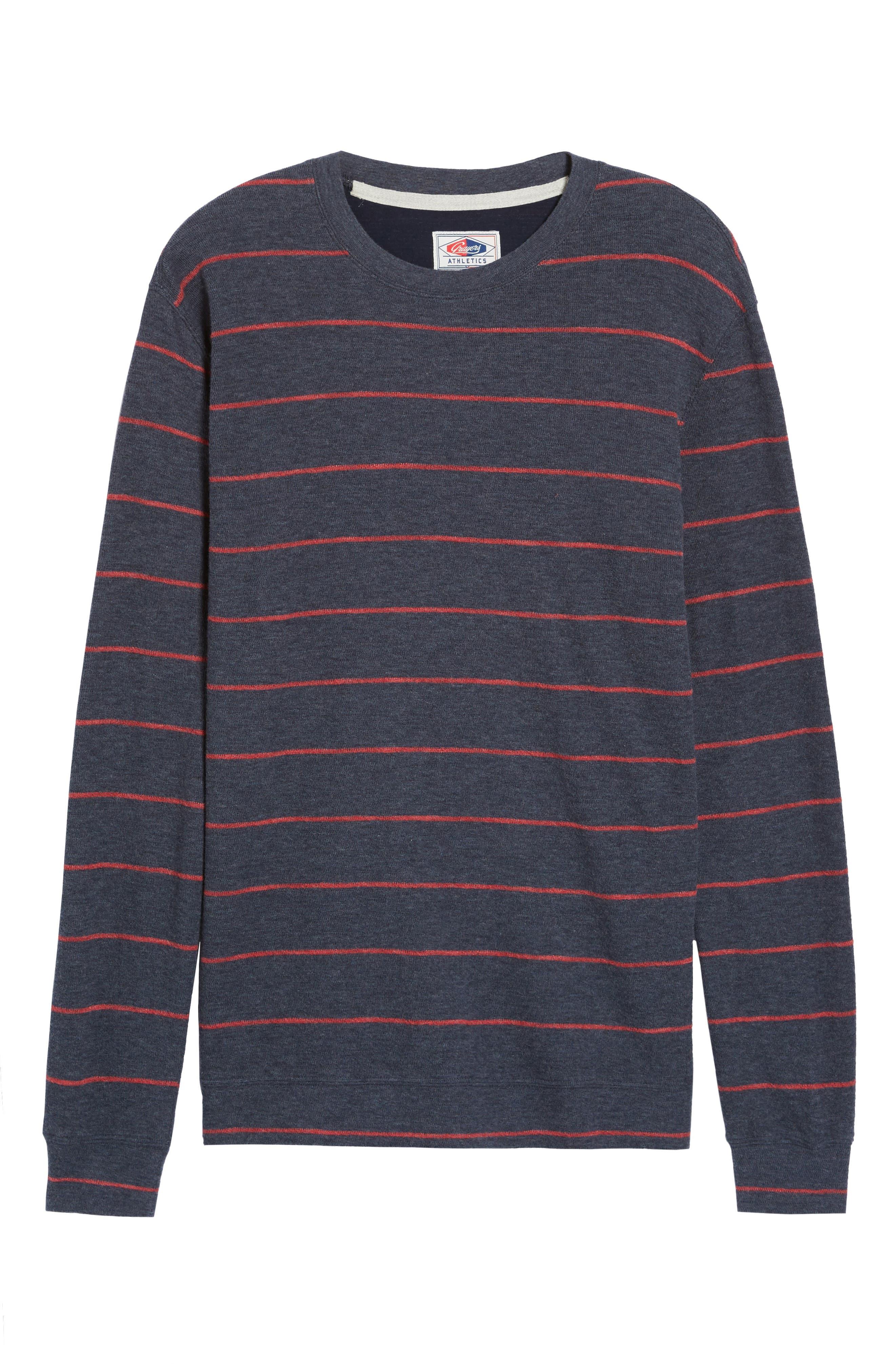 Baird Stripe Crewneck Sweatshirt,                             Alternate thumbnail 2, color,                             Navy / Red