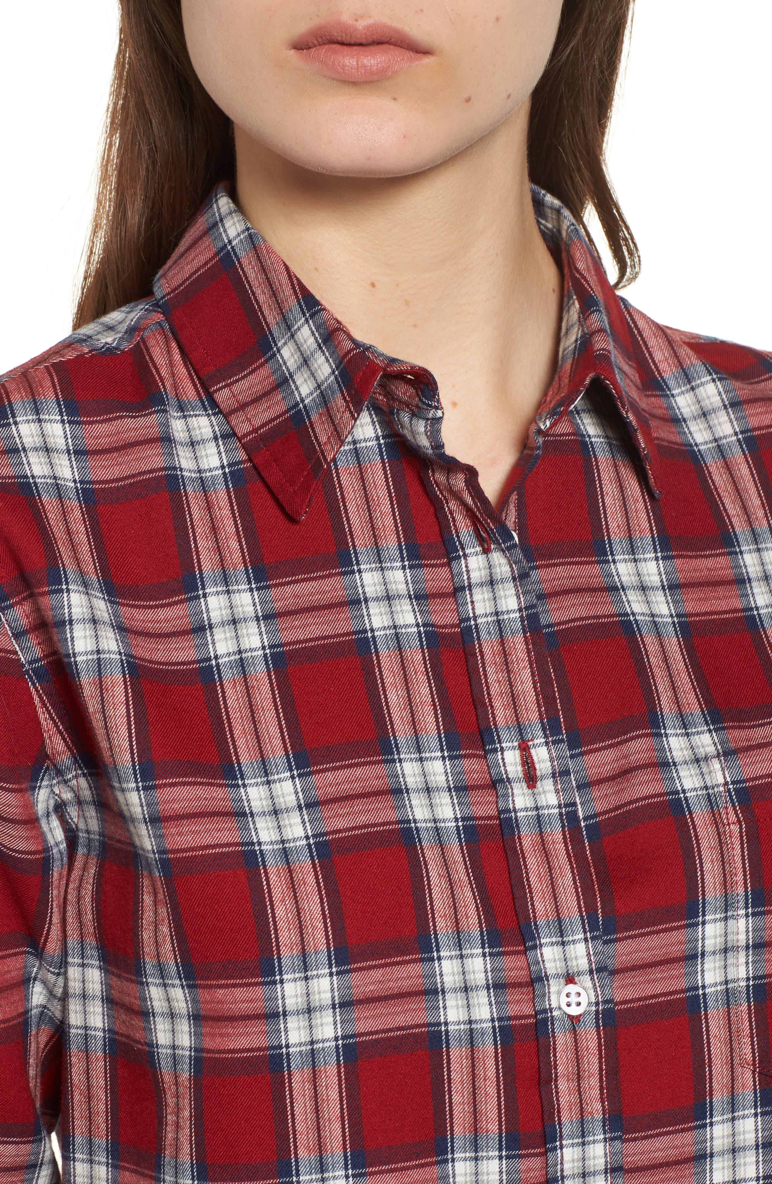 Mercer & Spring Plaid Shirt,                             Alternate thumbnail 4, color,                             Red Plaid