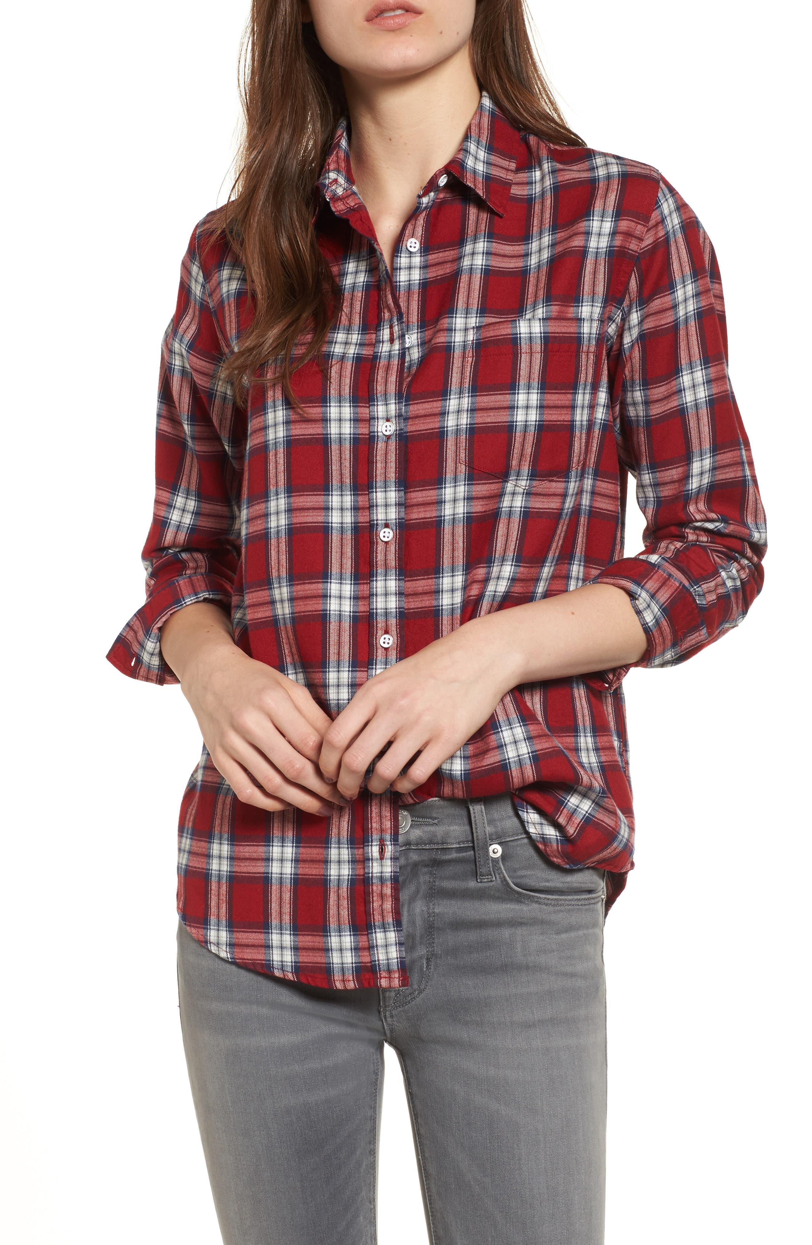 Mercer & Spring Plaid Shirt,                             Main thumbnail 1, color,                             Red Plaid