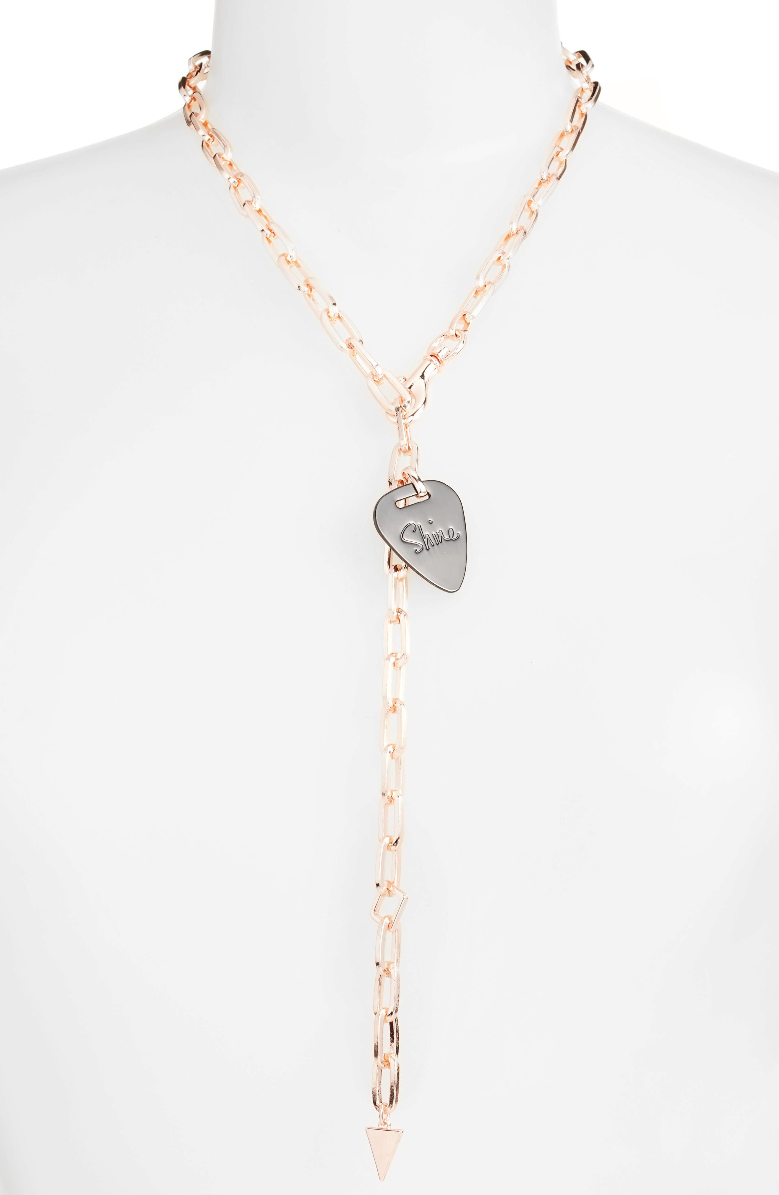 Rebecca Minkoff Guitar Pick Drop Necklace