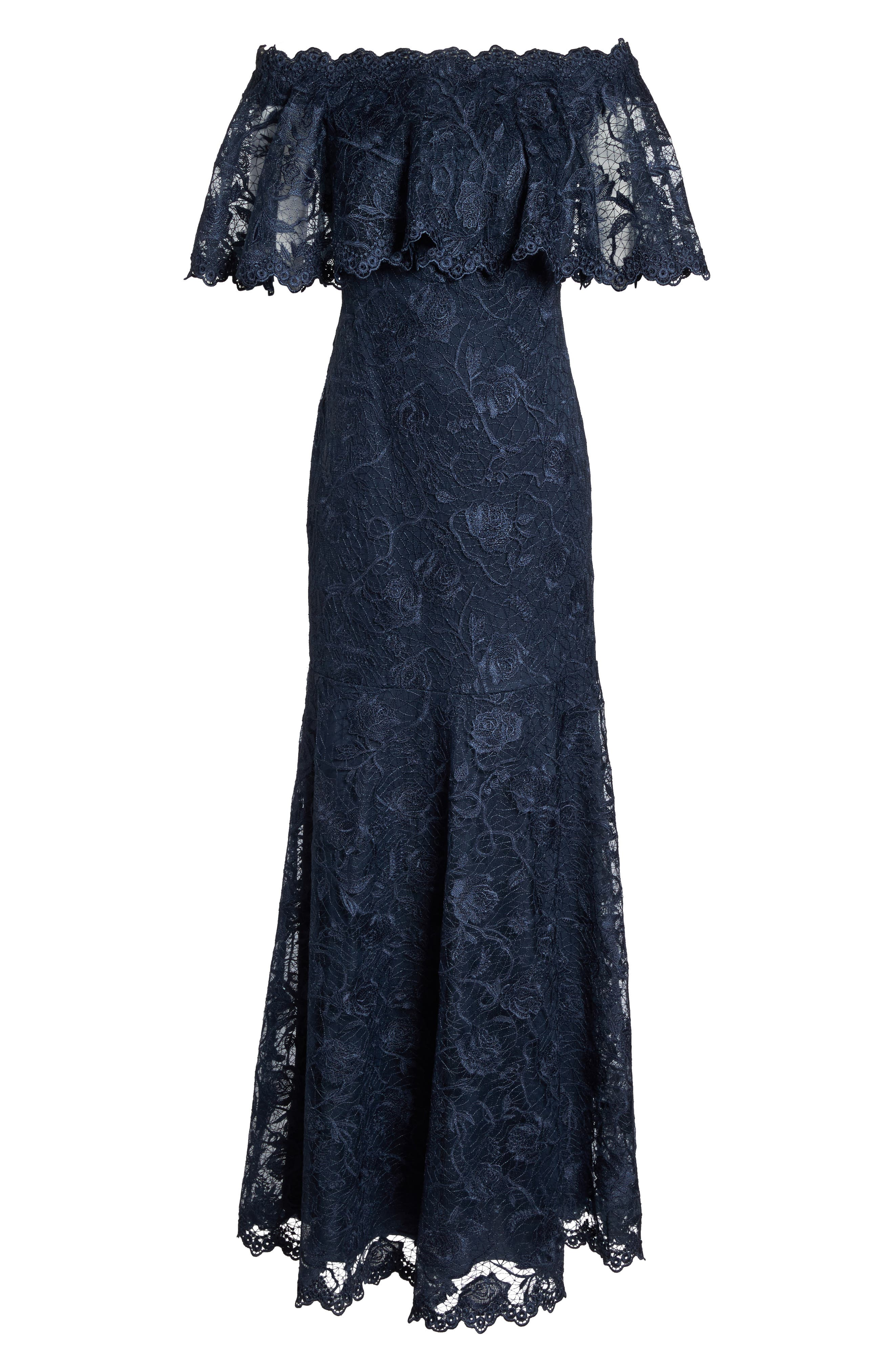 Alternate Image 6  - Tadashi Shoji Off the Shoulder Lace Gown