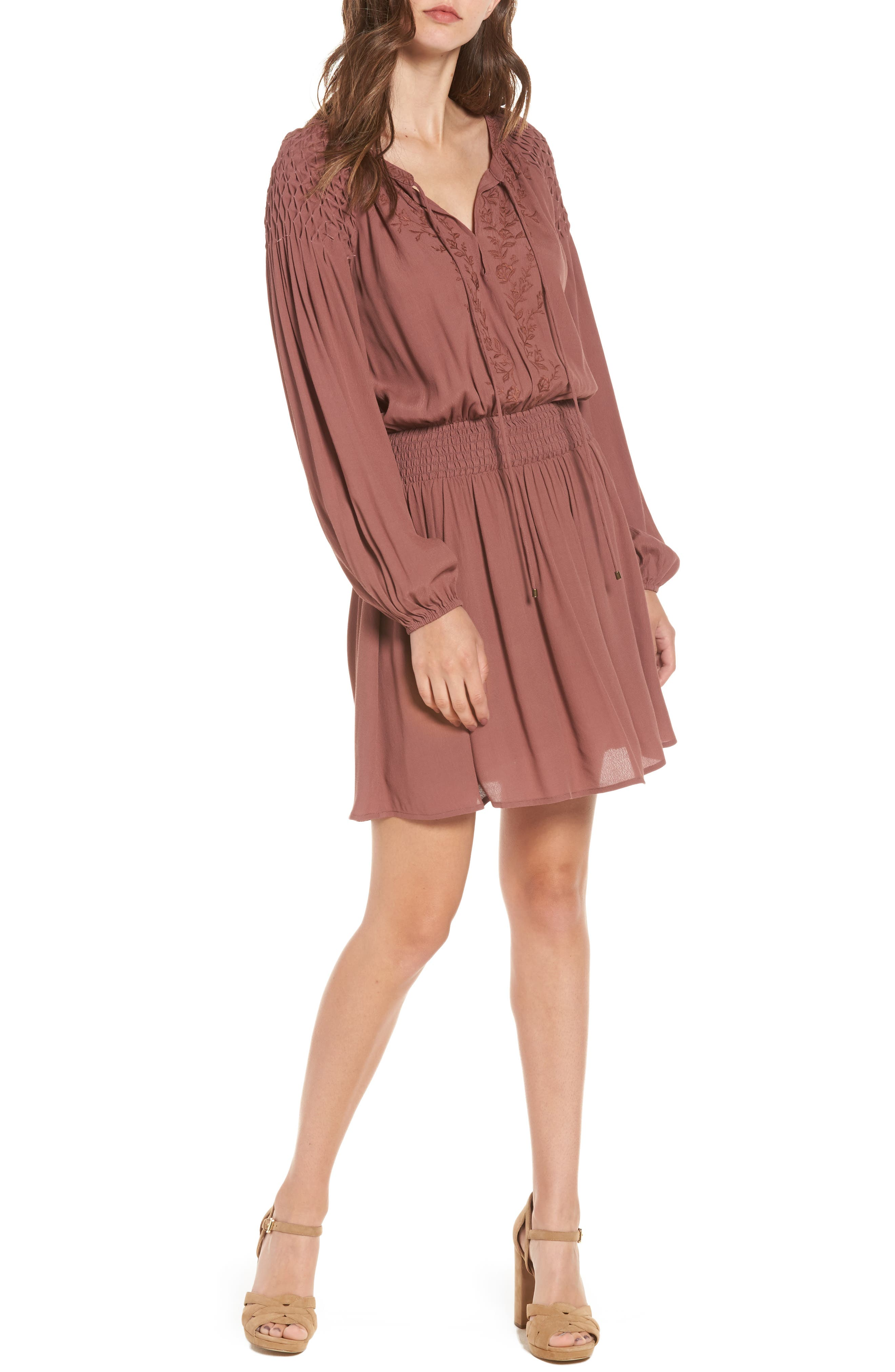 Melinda Blouson Dress,                             Main thumbnail 1, color,                             Dark Mauve