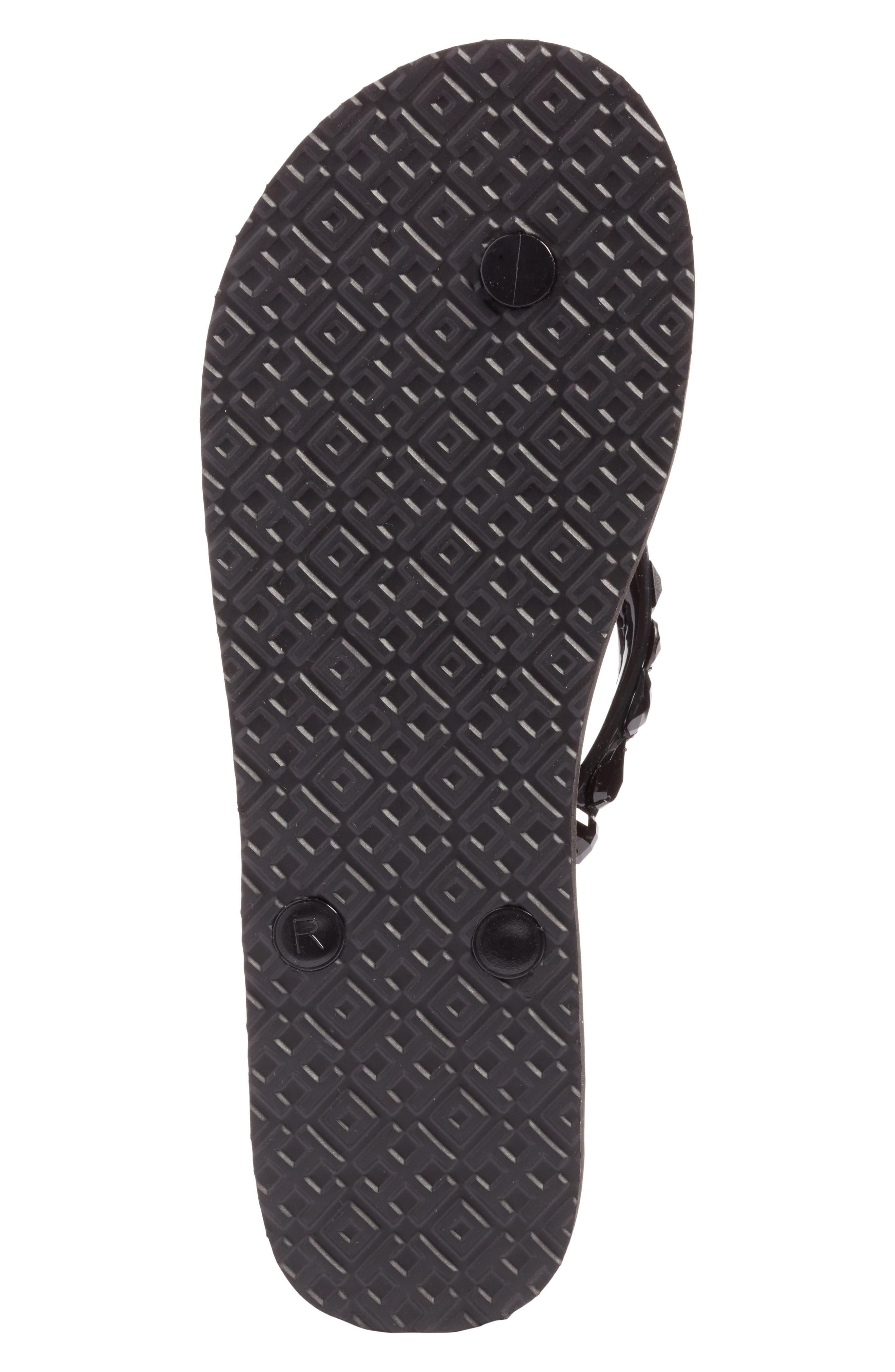 Embellished Flip-Flop,                             Alternate thumbnail 6, color,                             Black/ Leopard