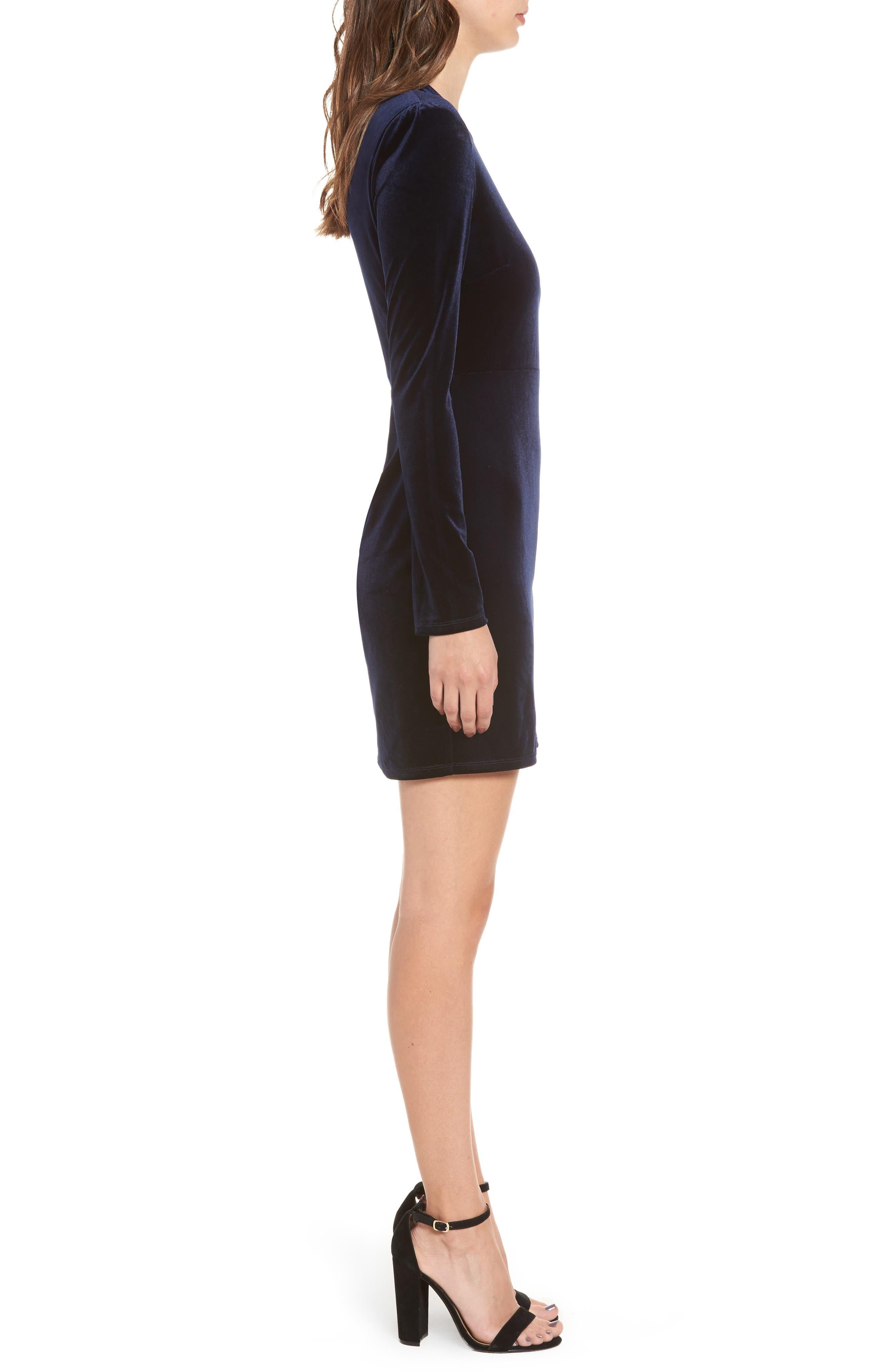 One-Shoulder Velvet Body-Con Dress,                             Alternate thumbnail 3, color,                             Navy