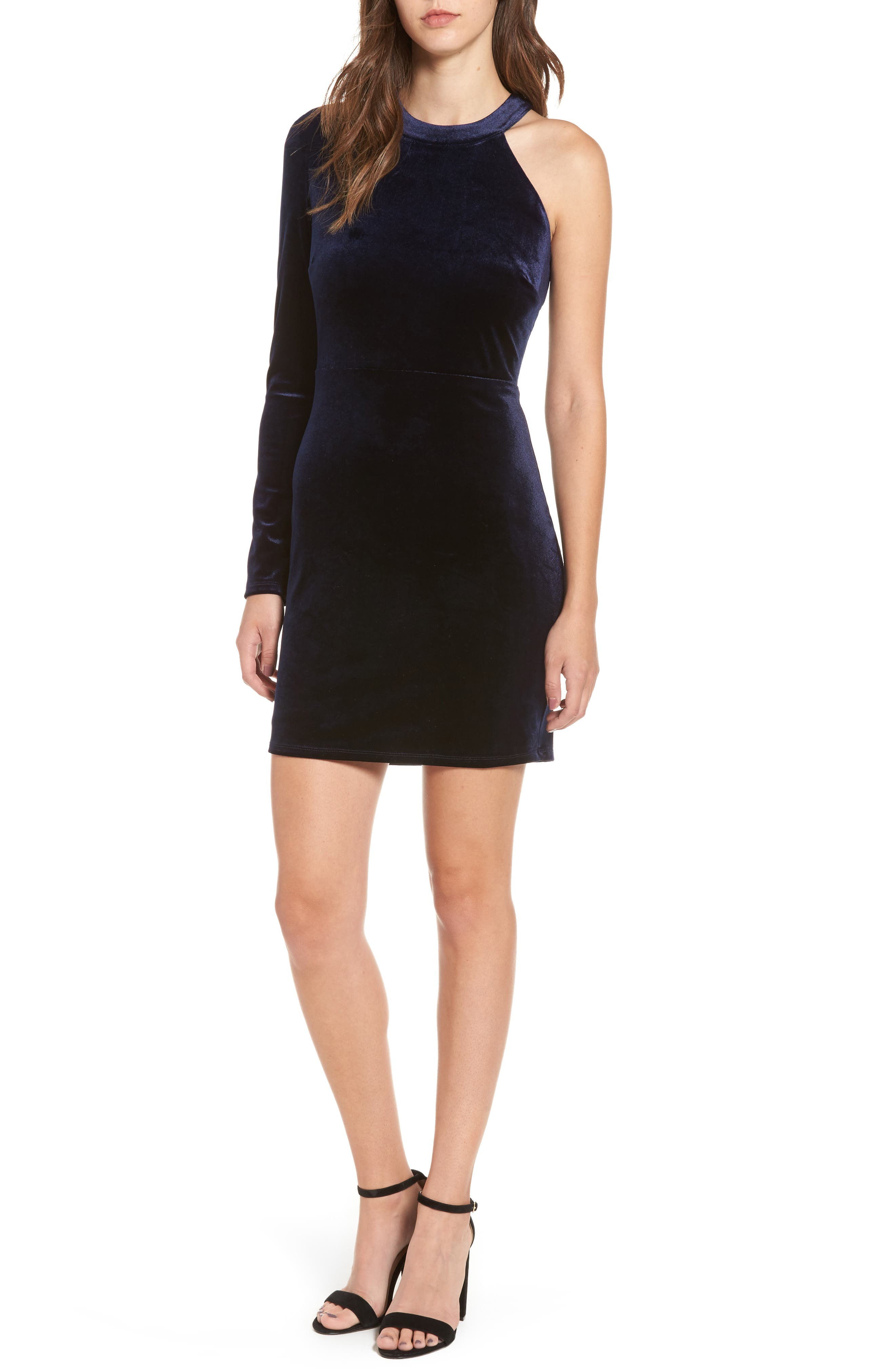 One-Shoulder Velvet Body-Con Dress,                         Main,                         color, Navy