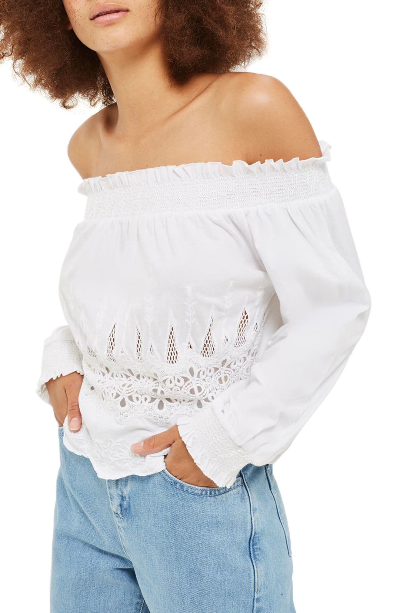 Cutwork Off the Shoulder Top,                         Main,                         color, White