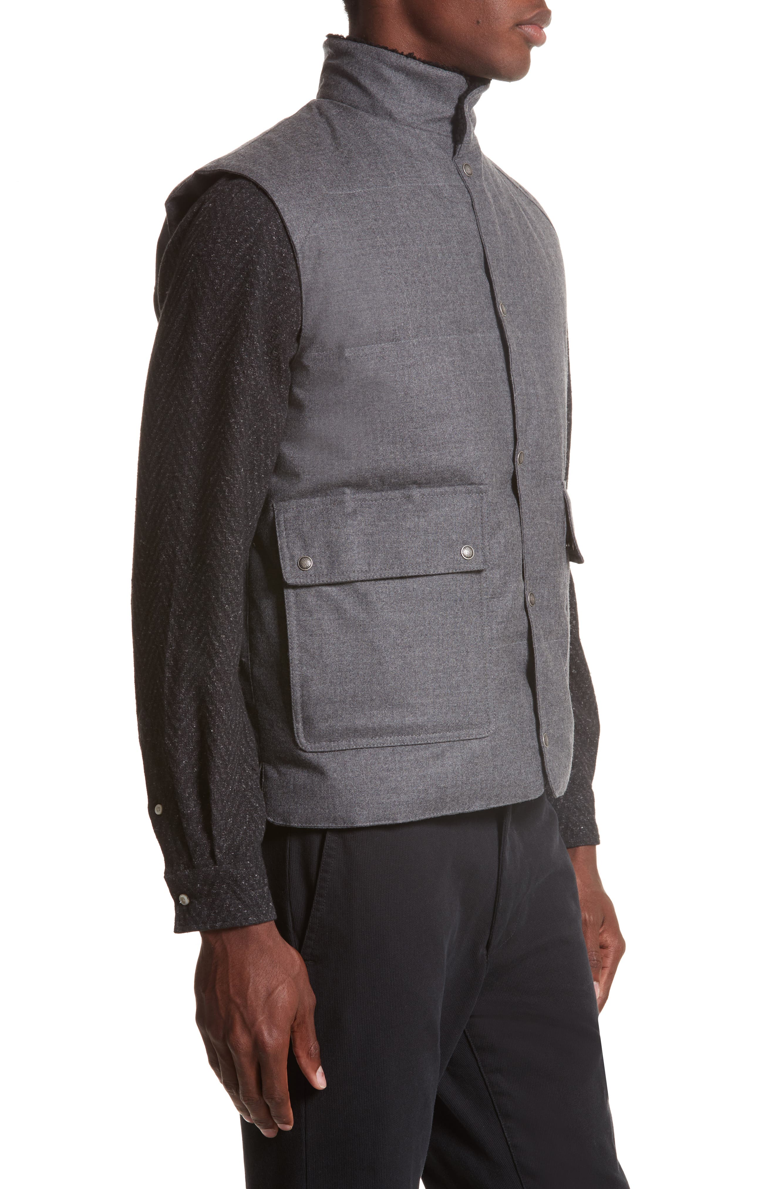 Water Resistant Wool Down Vest with Genuine Shearling Collar,                             Alternate thumbnail 3, color,                             Grey