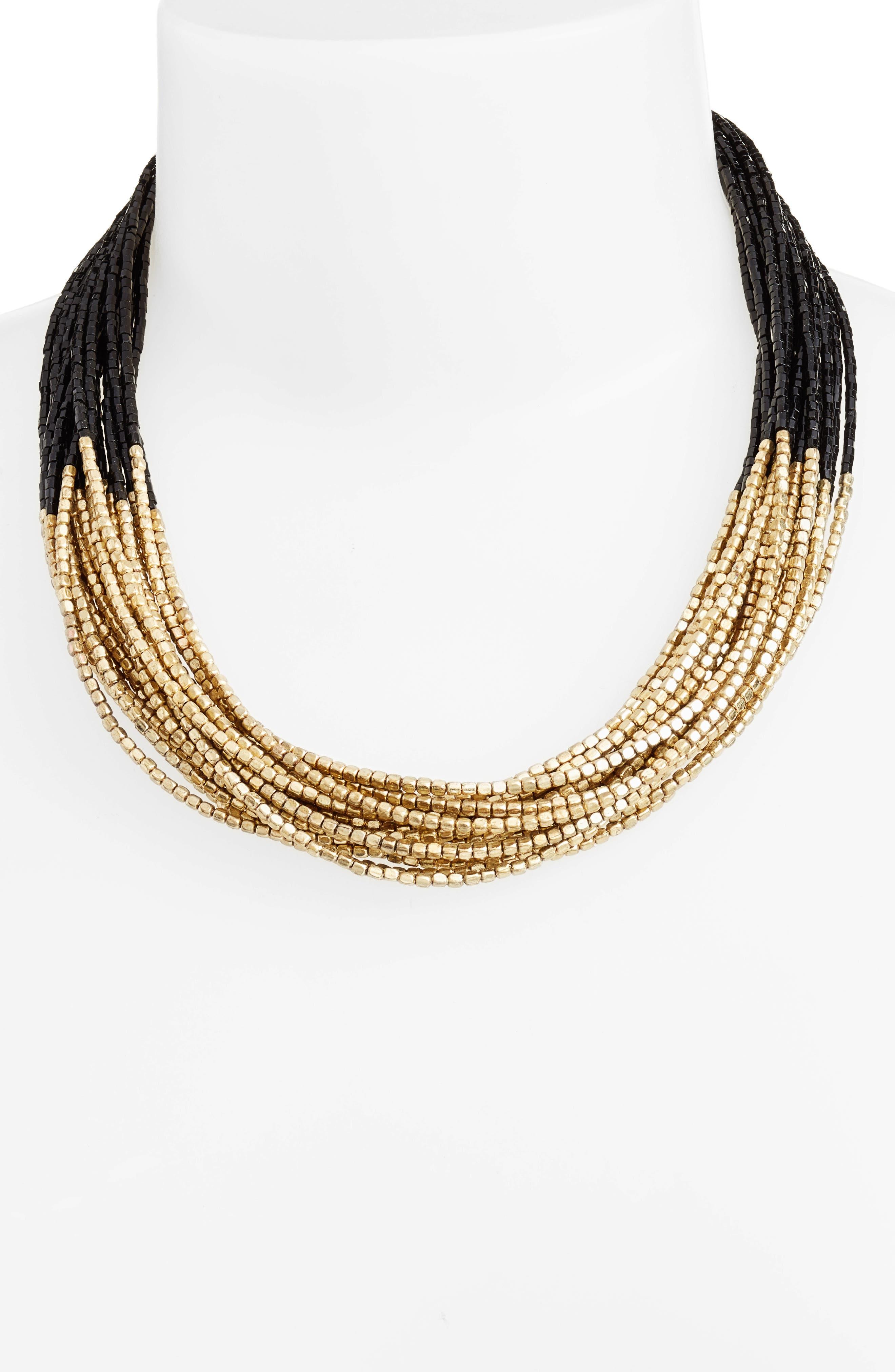 Priya Multistrand Collar Necklace,                             Alternate thumbnail 2, color,                             Antique Gold