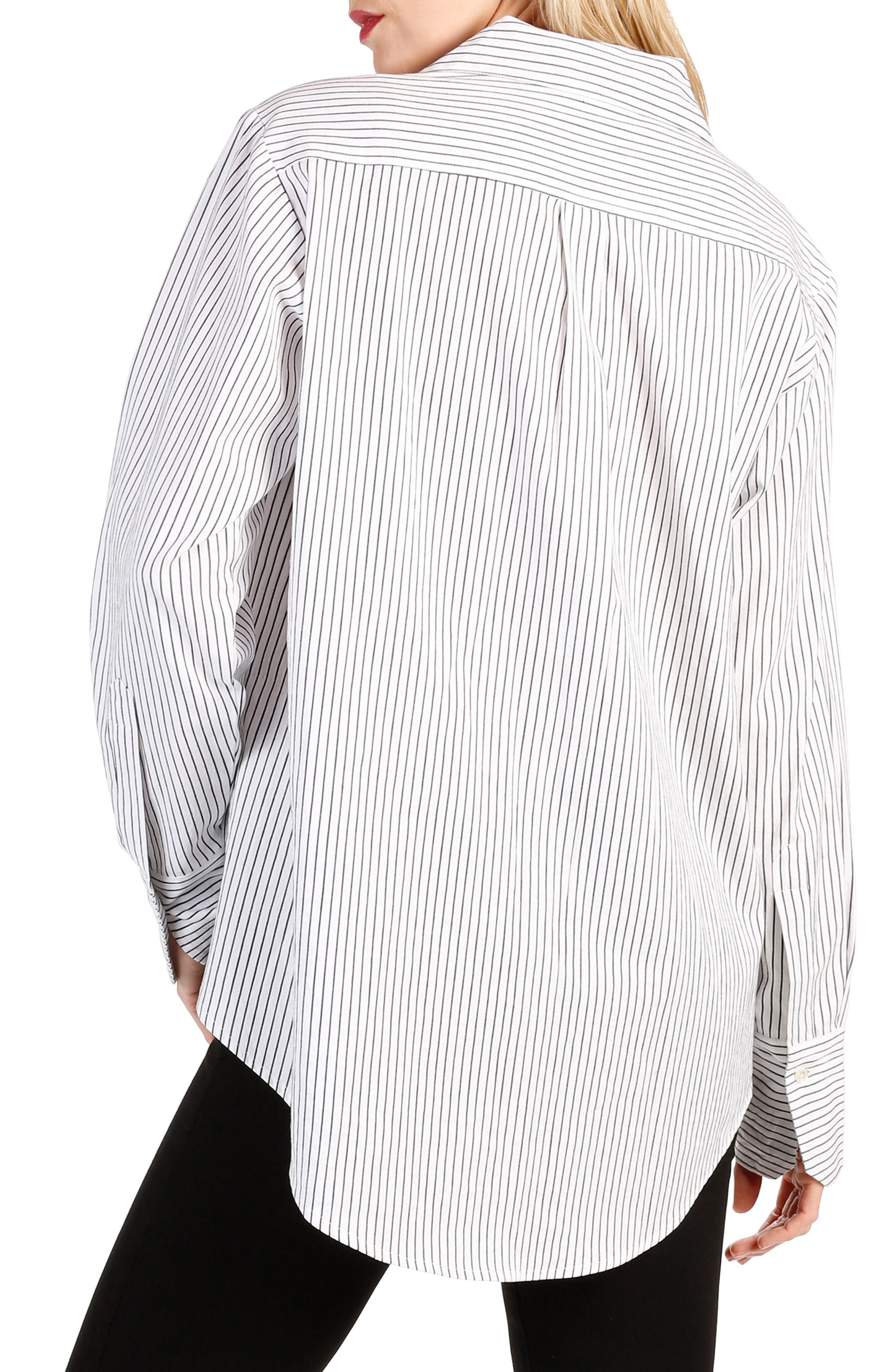 Clemence Stripe Shirt,                             Alternate thumbnail 2, color,                             Black And White Stripe