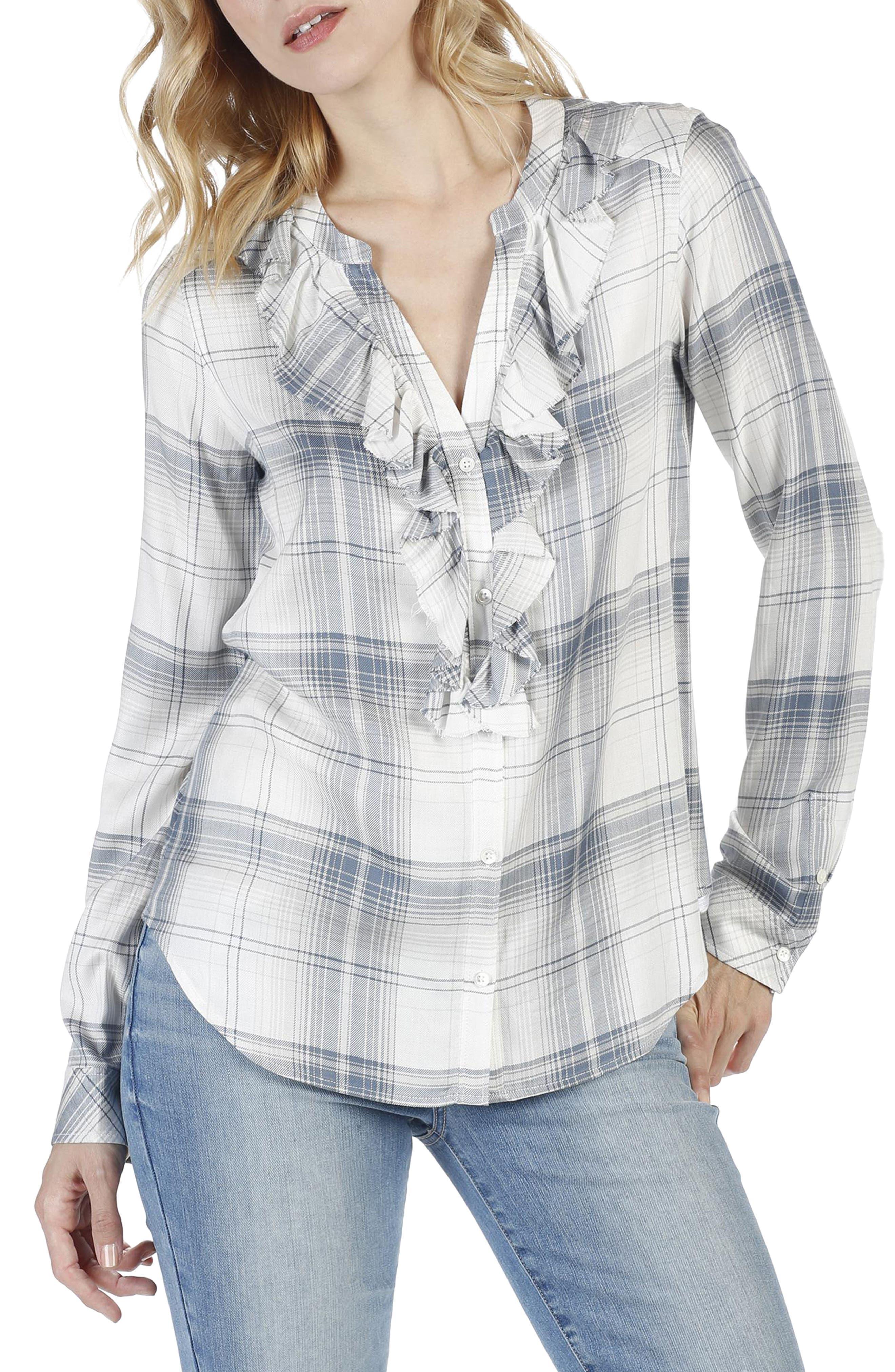 Bernette Plaid Shirt,                         Main,                         color, Blanc Multi