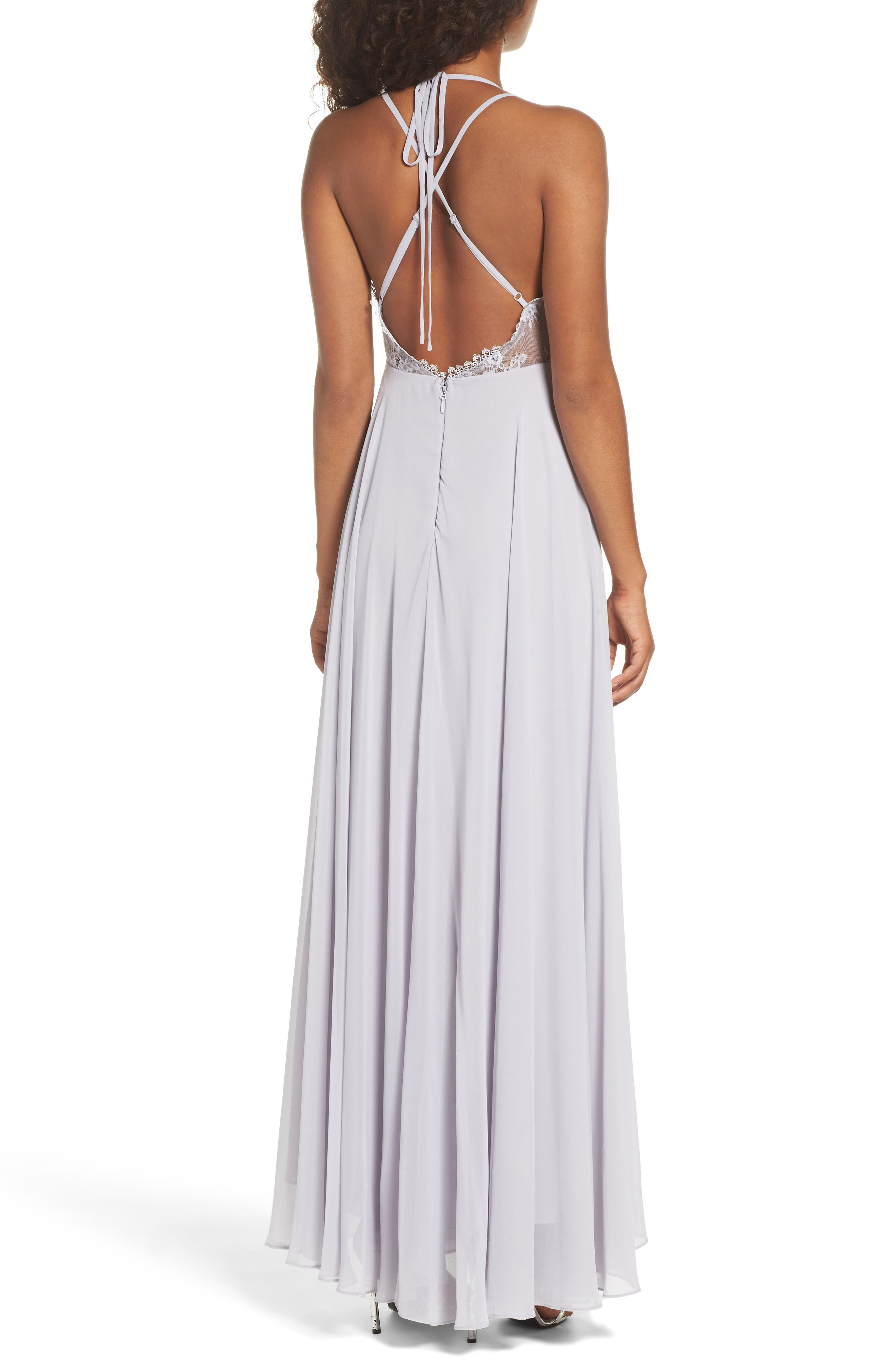 Alternate Image 2  - Lulus Celebrate the Moment Lace Trim Chiffon Maxi Dress