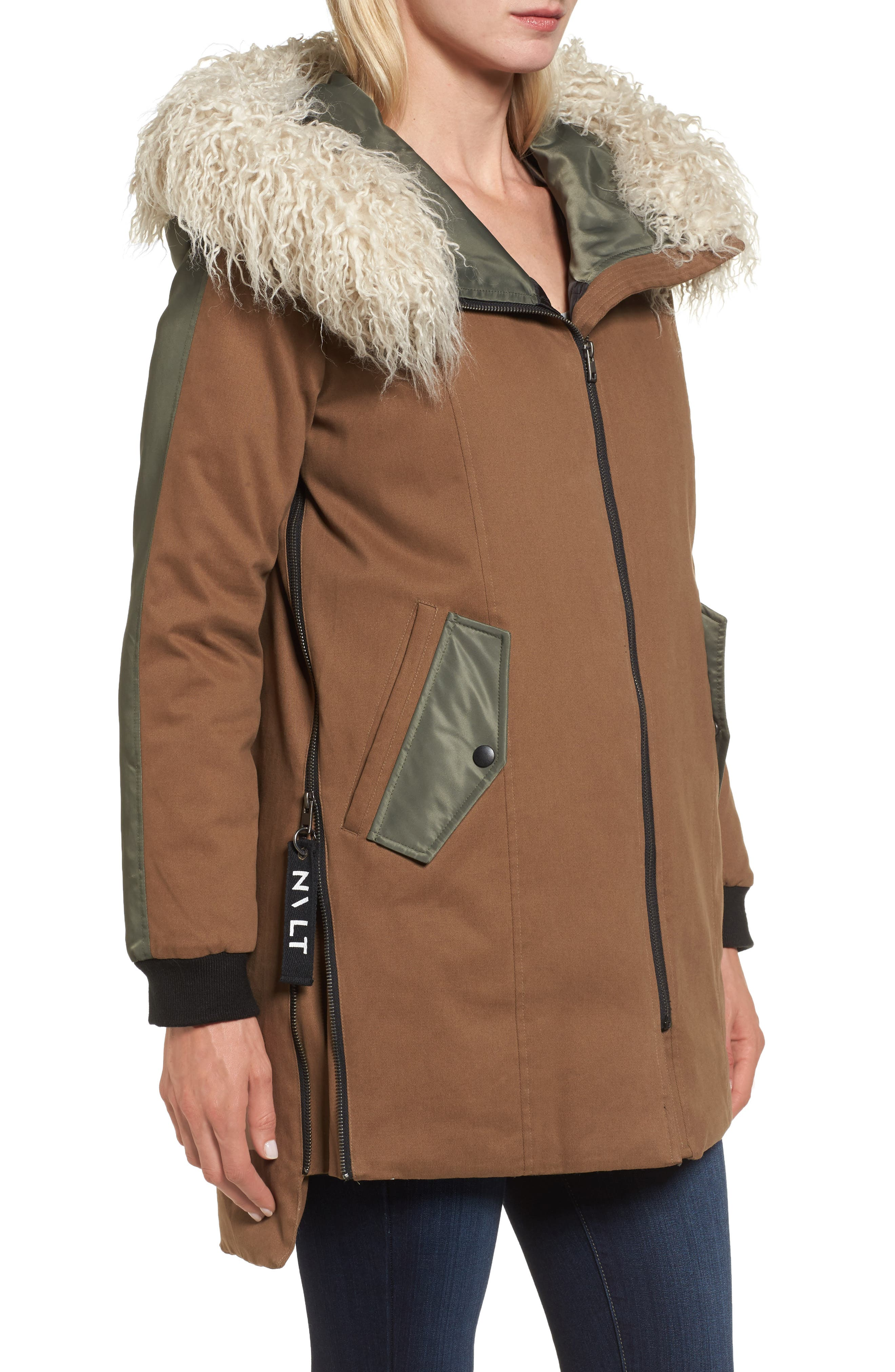 Stretch Cotton Twill Parka,                             Alternate thumbnail 4, color,                             Khaki
