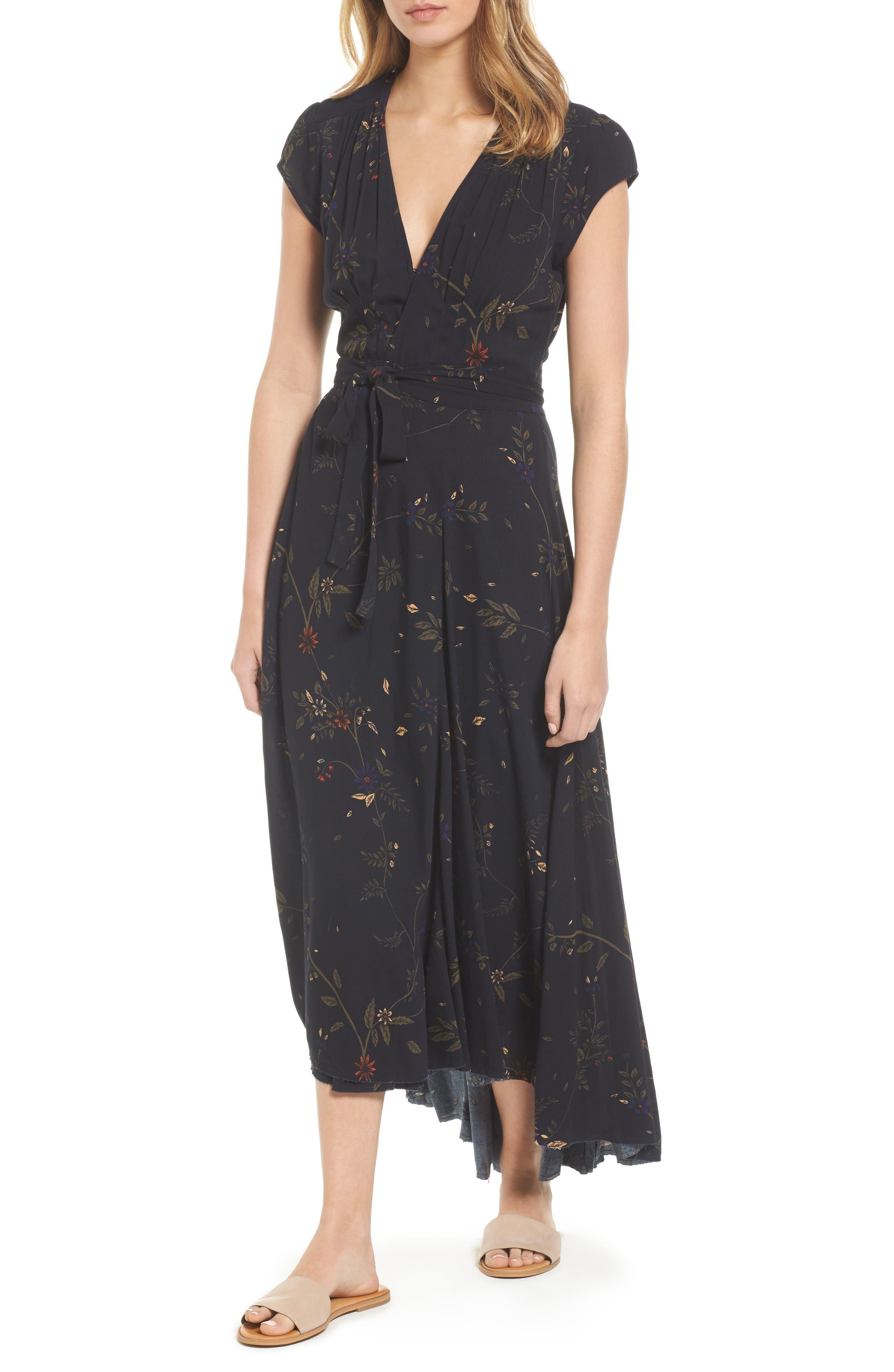 Daphne Wrap Maxi Dress,                             Main thumbnail 1, color,                             True Black Multi