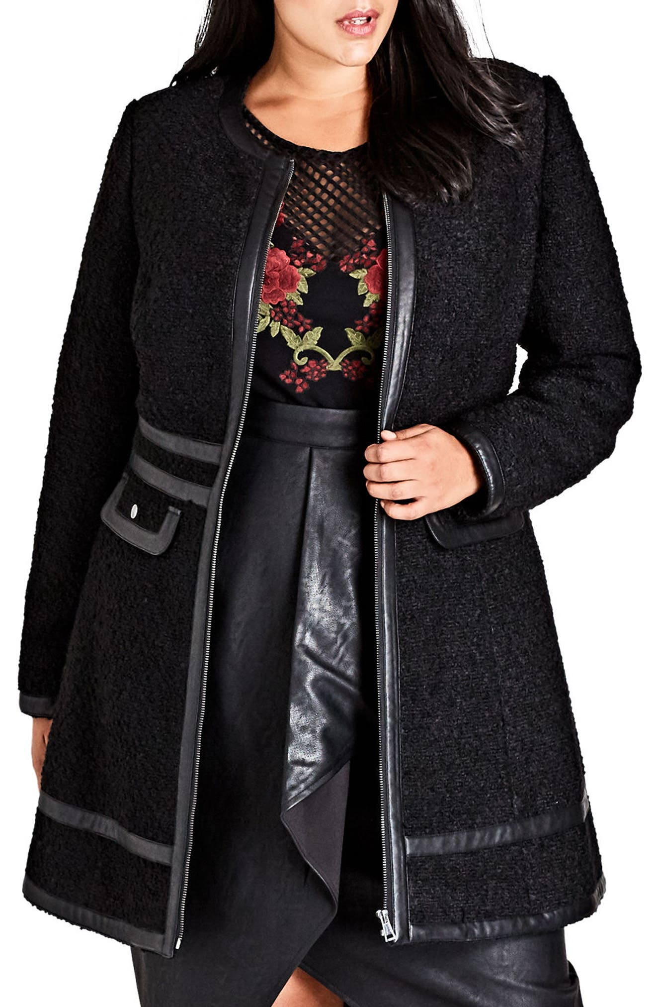 Bouclé Car Coat,                             Main thumbnail 1, color,                             Black