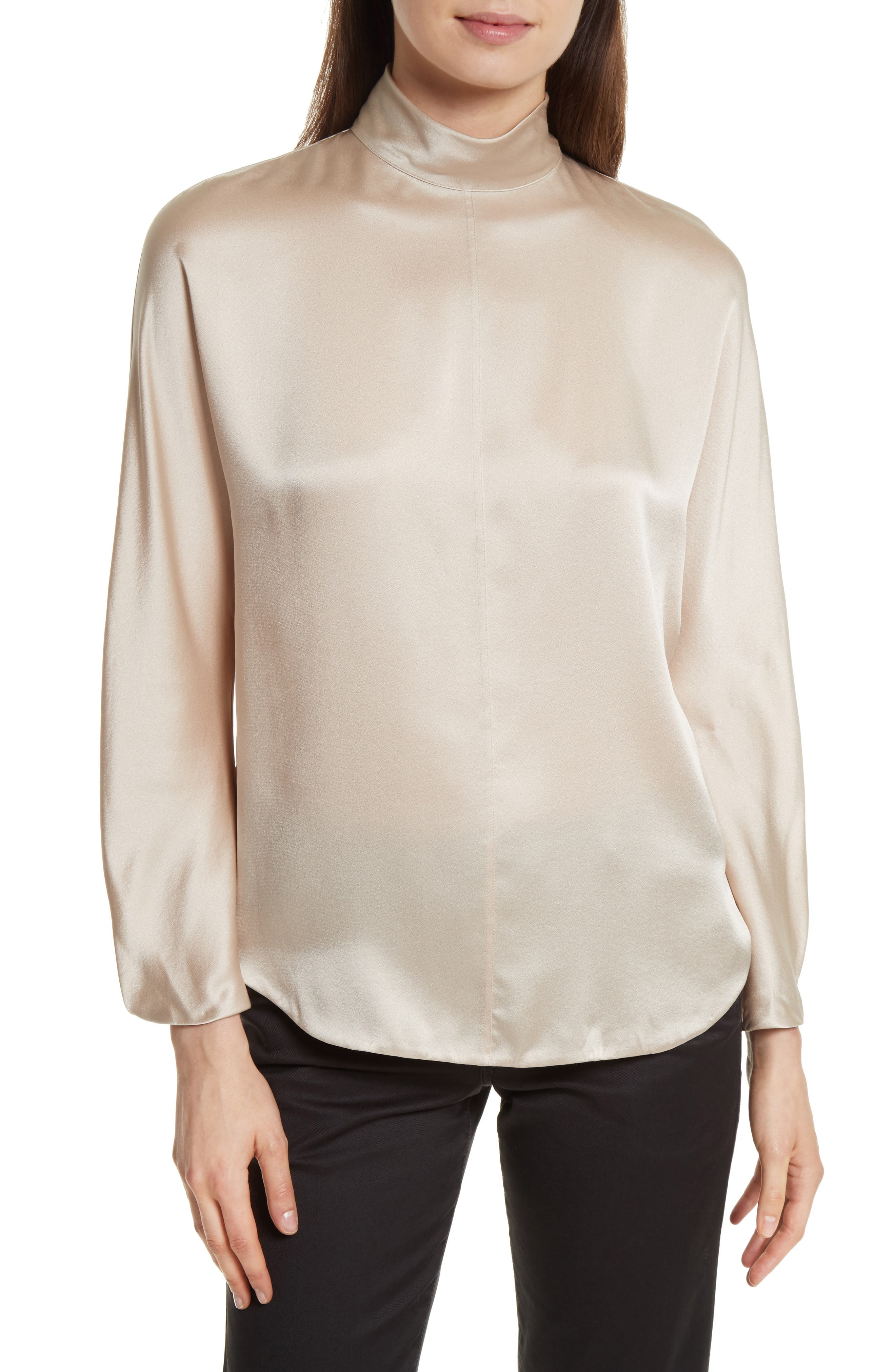 Band Collar Silk Blouse,                         Main,                         color, Rose