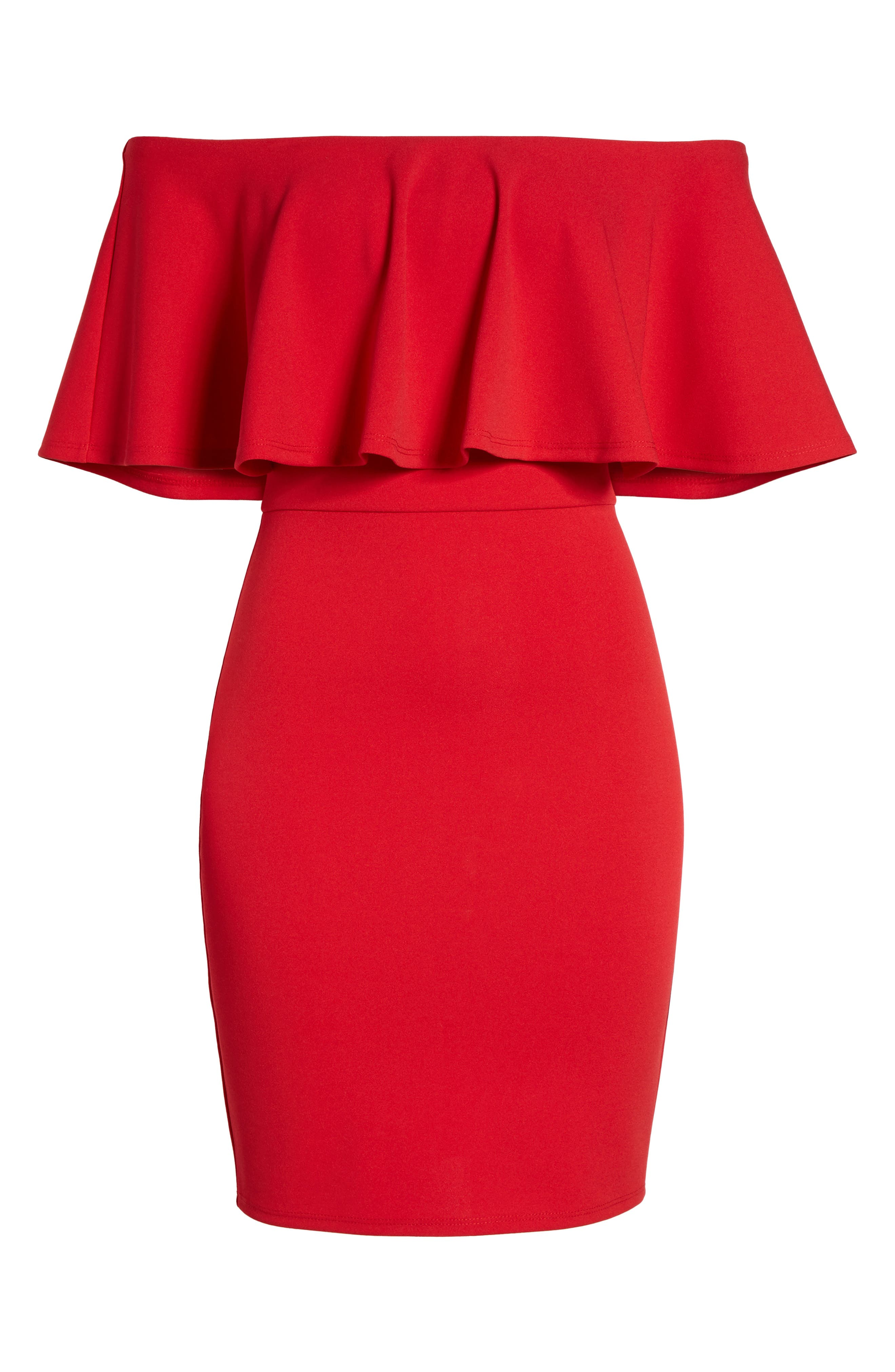 Ruffle Off the Shoulder Body-Con Dress,                             Alternate thumbnail 8, color,                             African Red