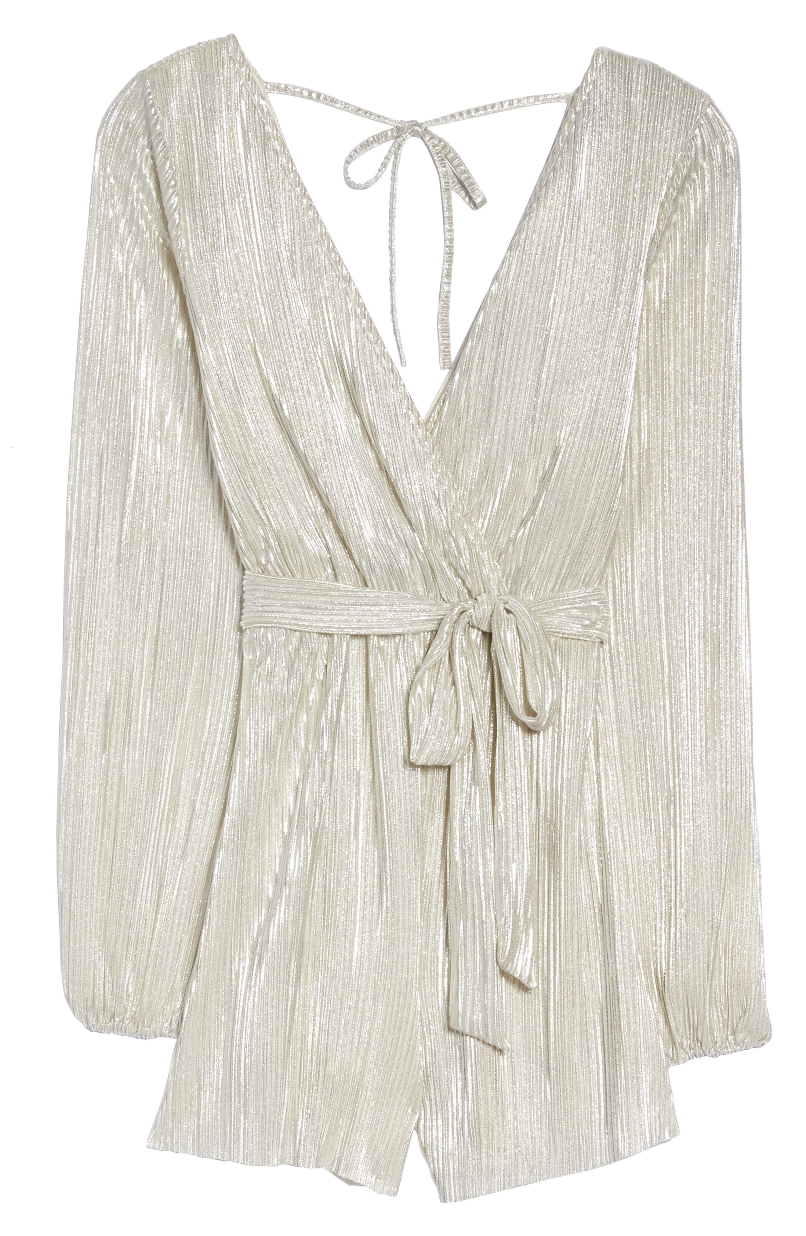 Ziggy Pleated Romper,                             Alternate thumbnail 6, color,                             Silver