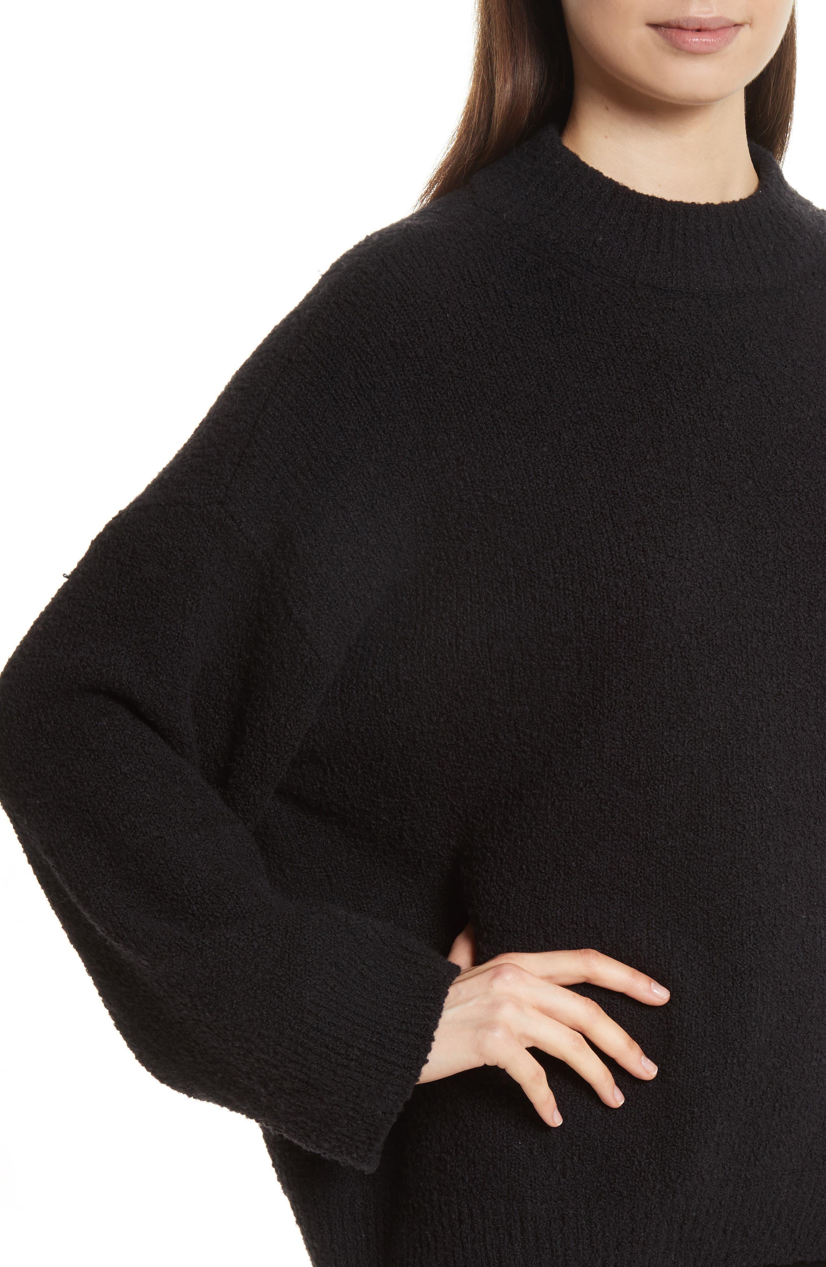 Boxy Knit Pullover,                             Alternate thumbnail 4, color,                             Black