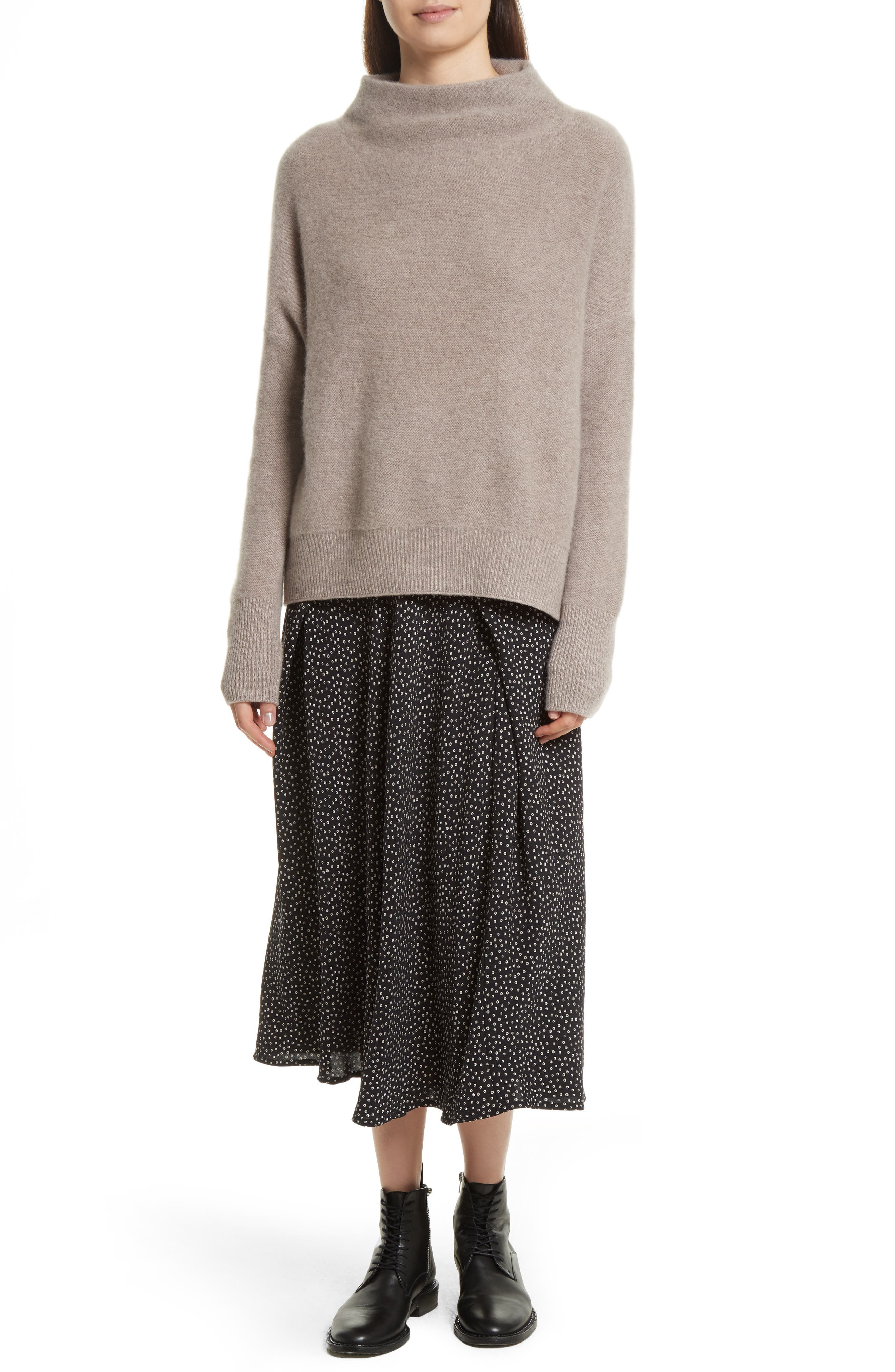 Cashmere Funnel Neck Pullover,                             Alternate thumbnail 2, color,                             Taupe