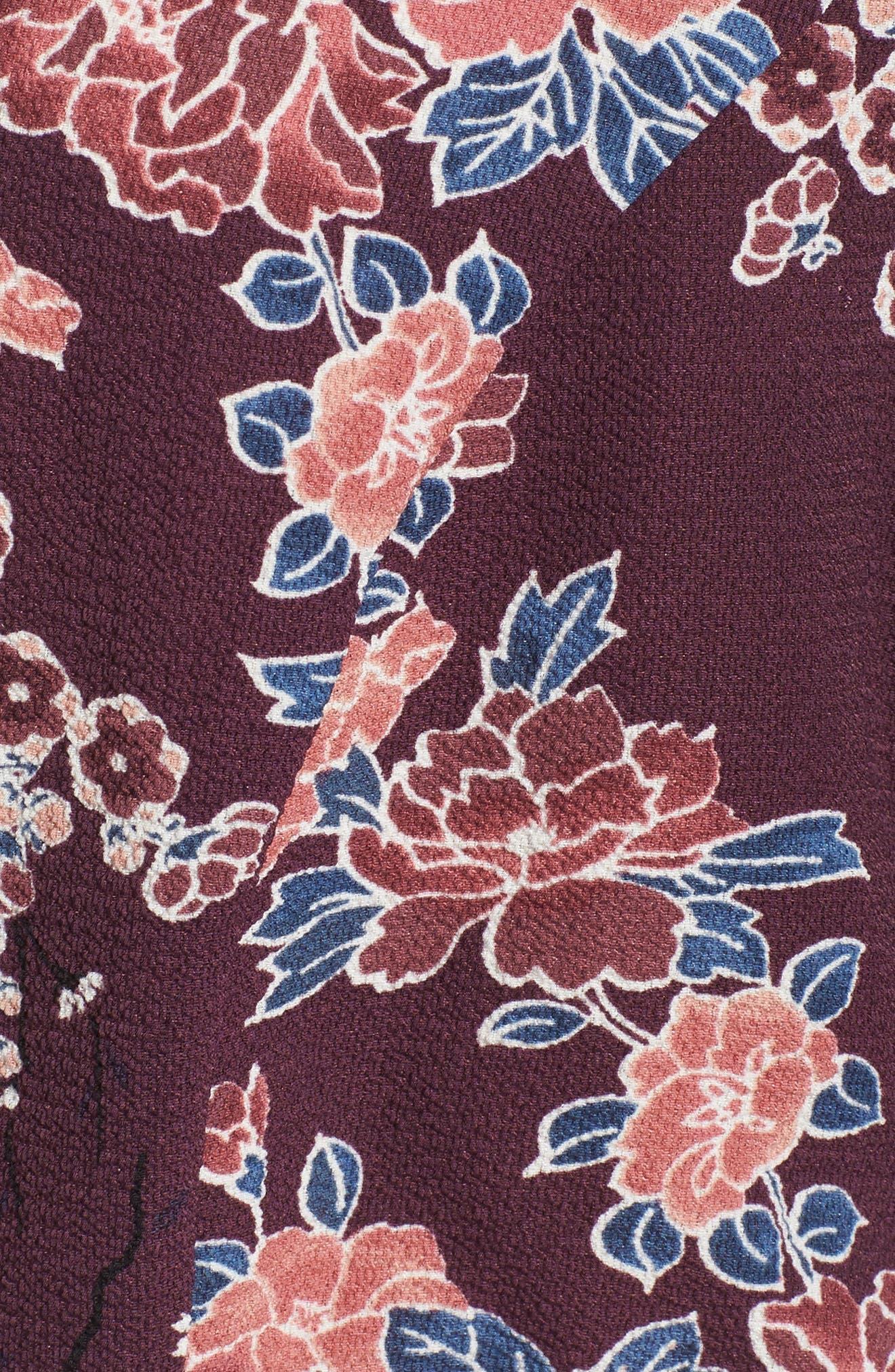 Floral Print Romper,                             Alternate thumbnail 5, color,                             Plum Floral