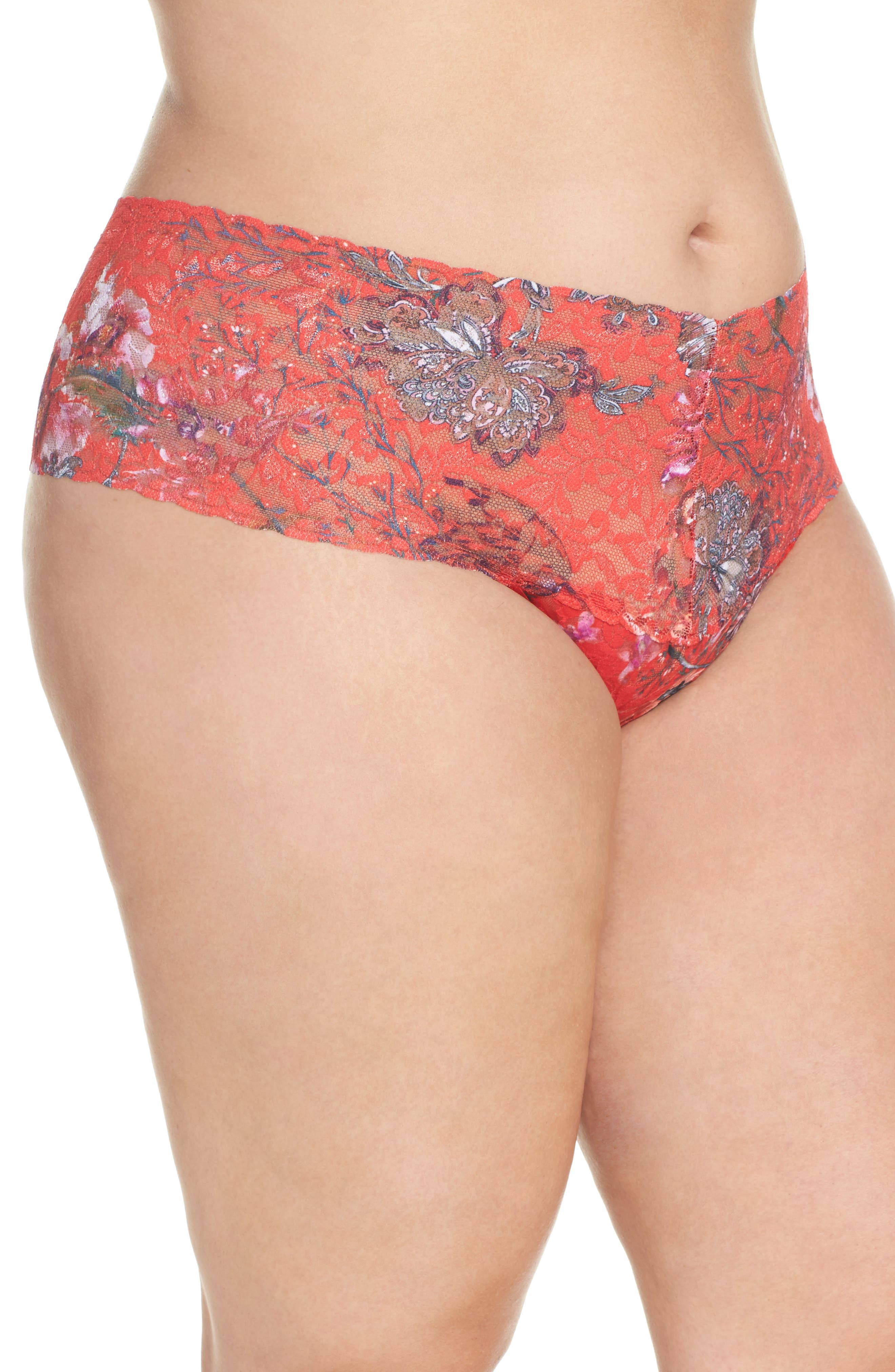 Alternate Image 3  - Hanky Panky Fiery Floral Thong (Plus Size)