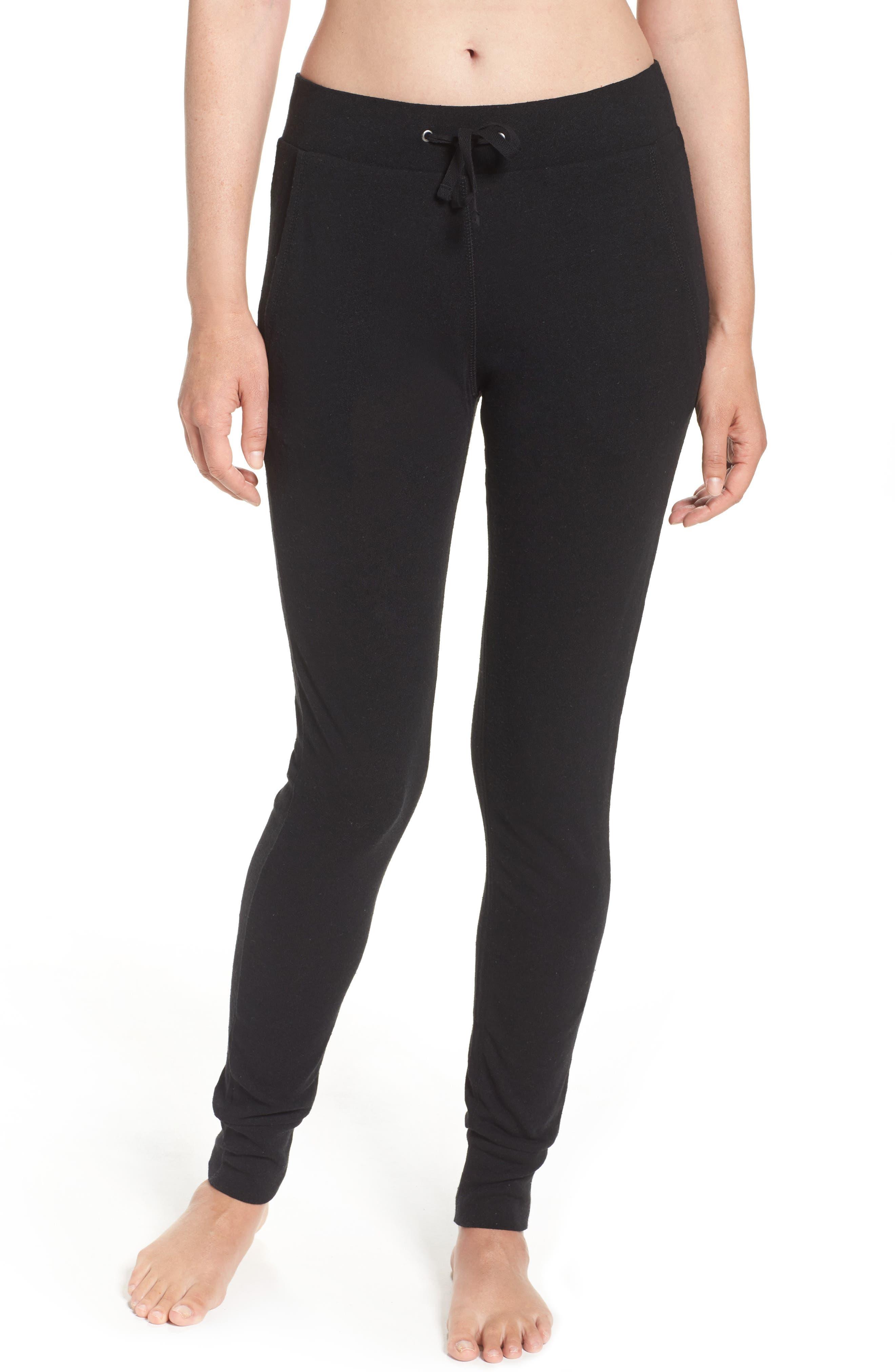 Clementine Cotton & Silk Pajama Pants,                         Main,                         color, Black
