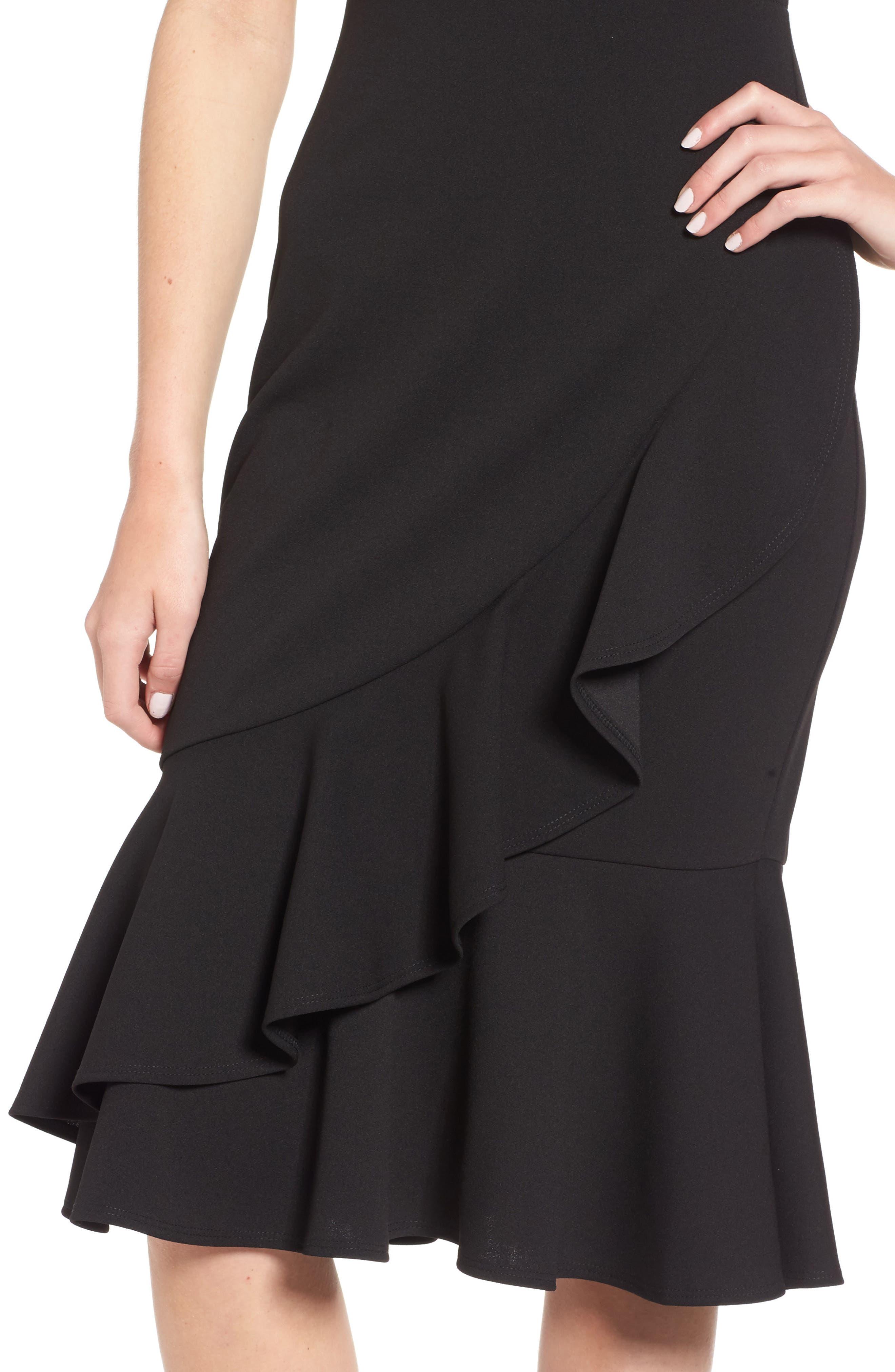 Ruffle Hem Dress,                             Alternate thumbnail 4, color,                             Black