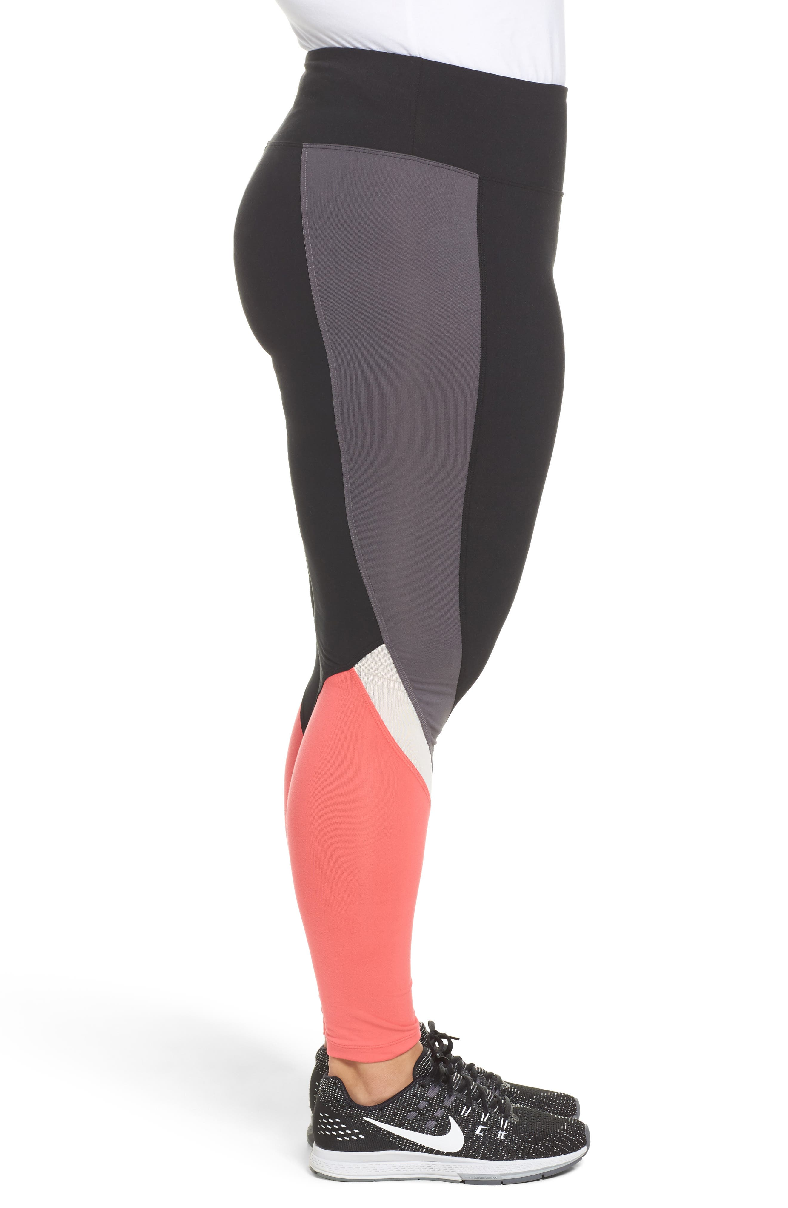 Colorblock Leggings,                             Alternate thumbnail 5, color,                             Black/ Push-Up Pink