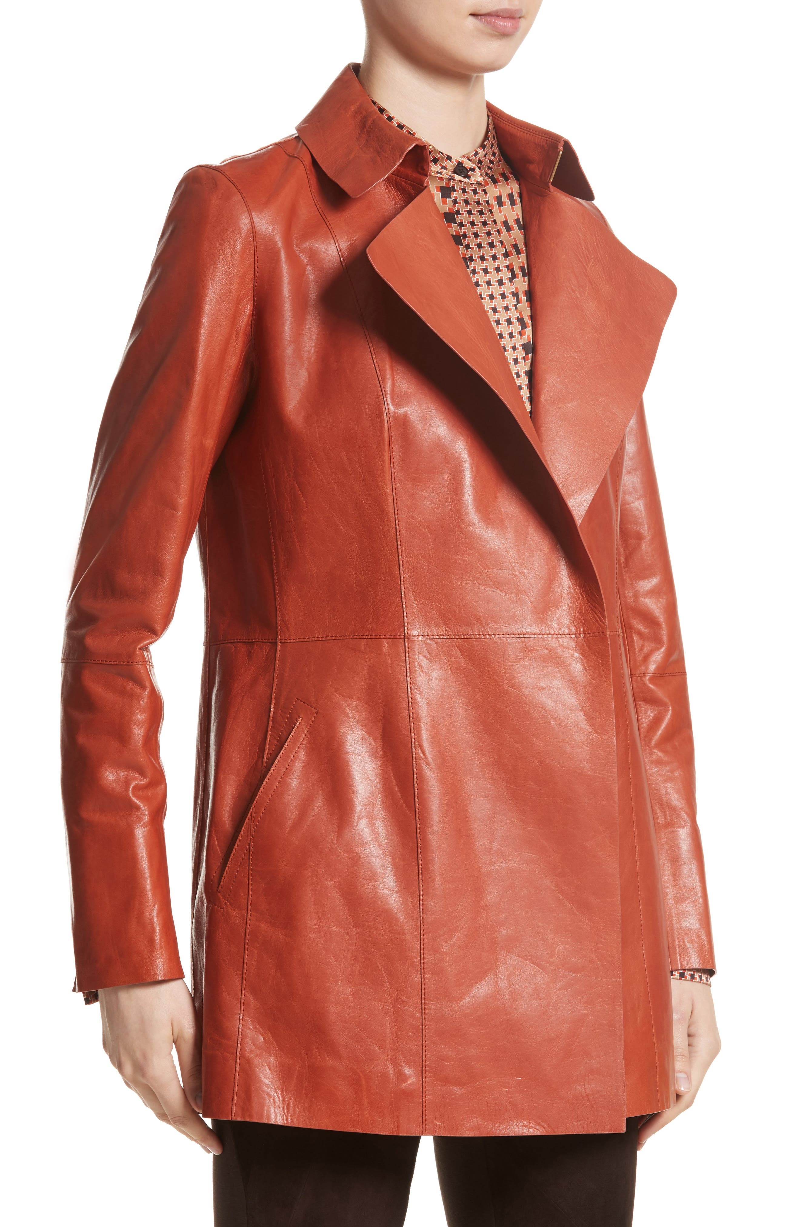 Leather Trench,                             Alternate thumbnail 4, color,                             Harvest