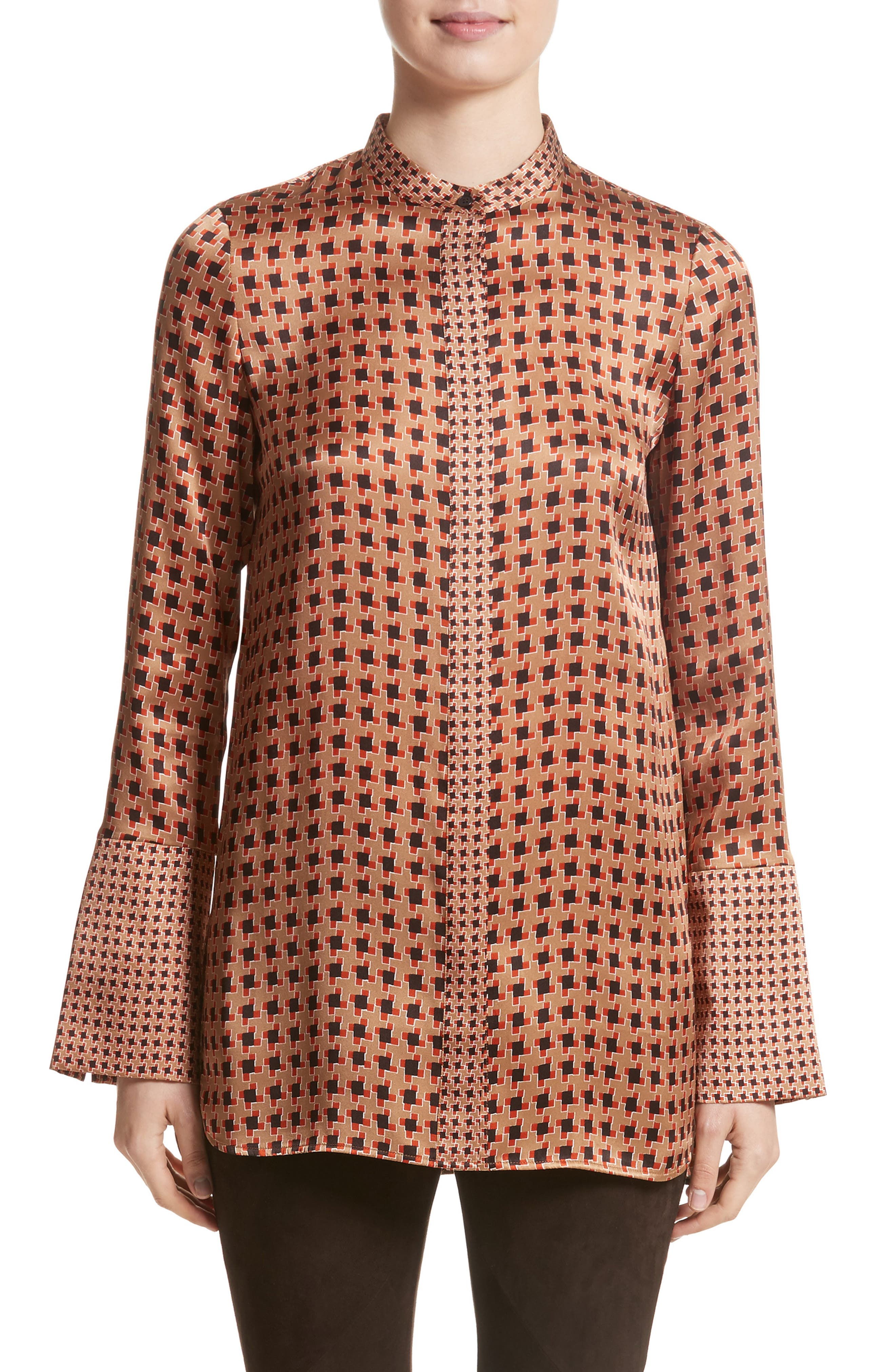 Desra Highgate Houndstooth Silk Tunic,                             Main thumbnail 1, color,                             Camel Multi