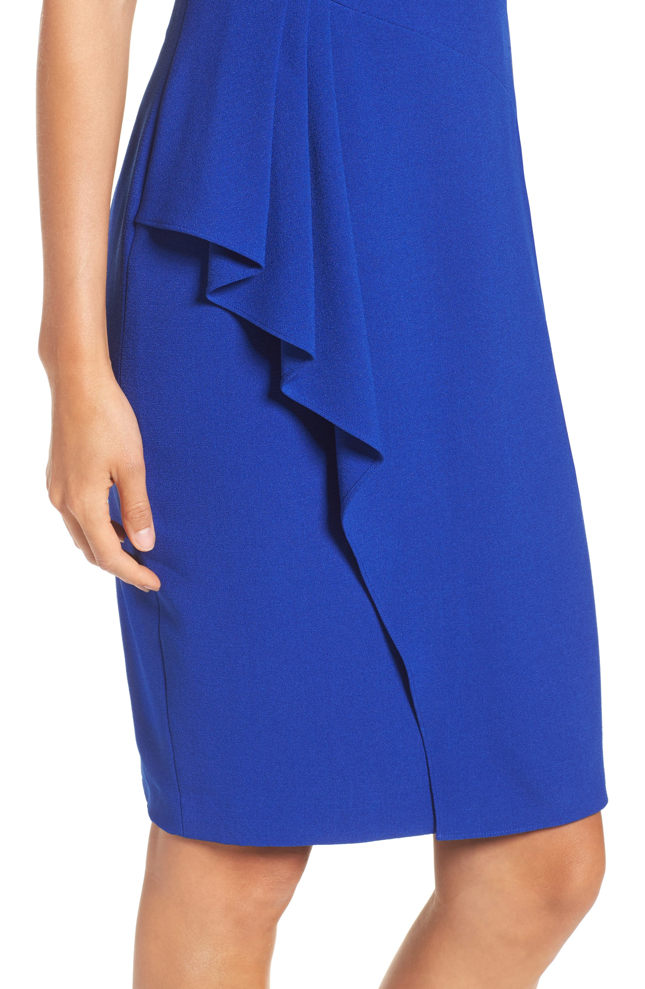 Sleeveless Crepe Sheath Dress,                             Alternate thumbnail 4, color,                             Royal
