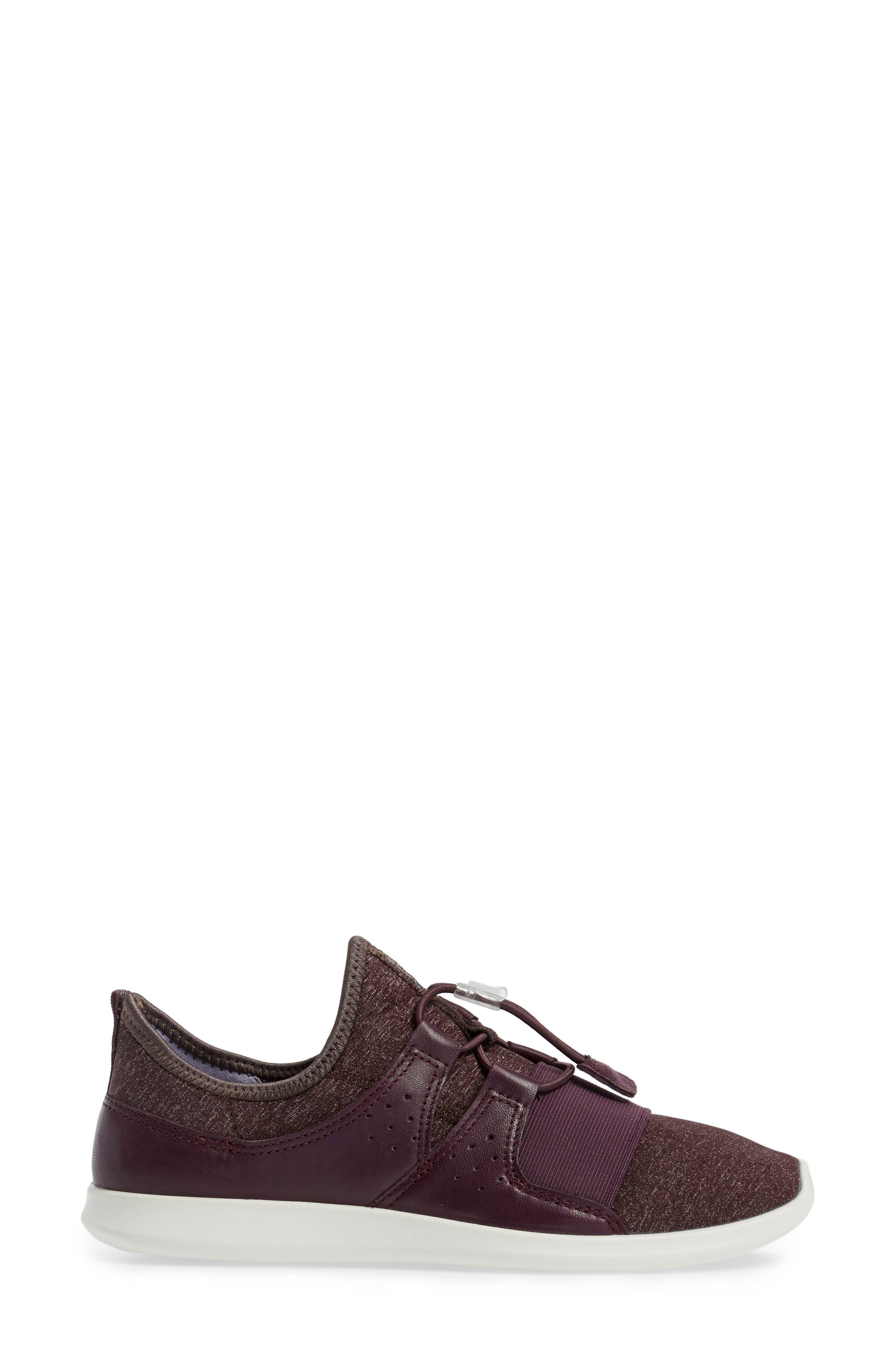 Sense Toggle Sneaker,                             Alternate thumbnail 3, color,                             Mauve Leather