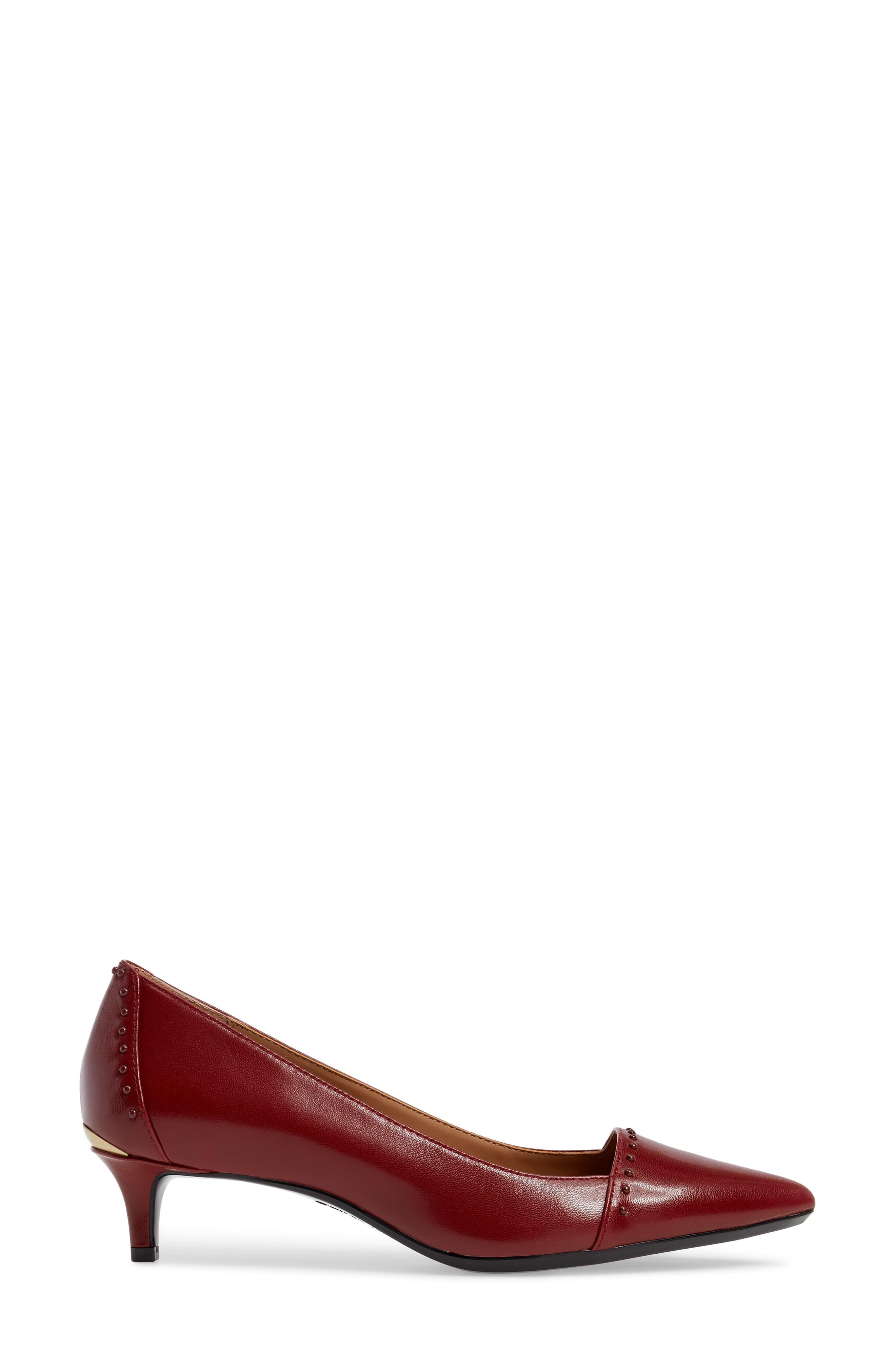 Griselda Studded Cap Toe Pump,                             Alternate thumbnail 3, color,                             Cherry Red