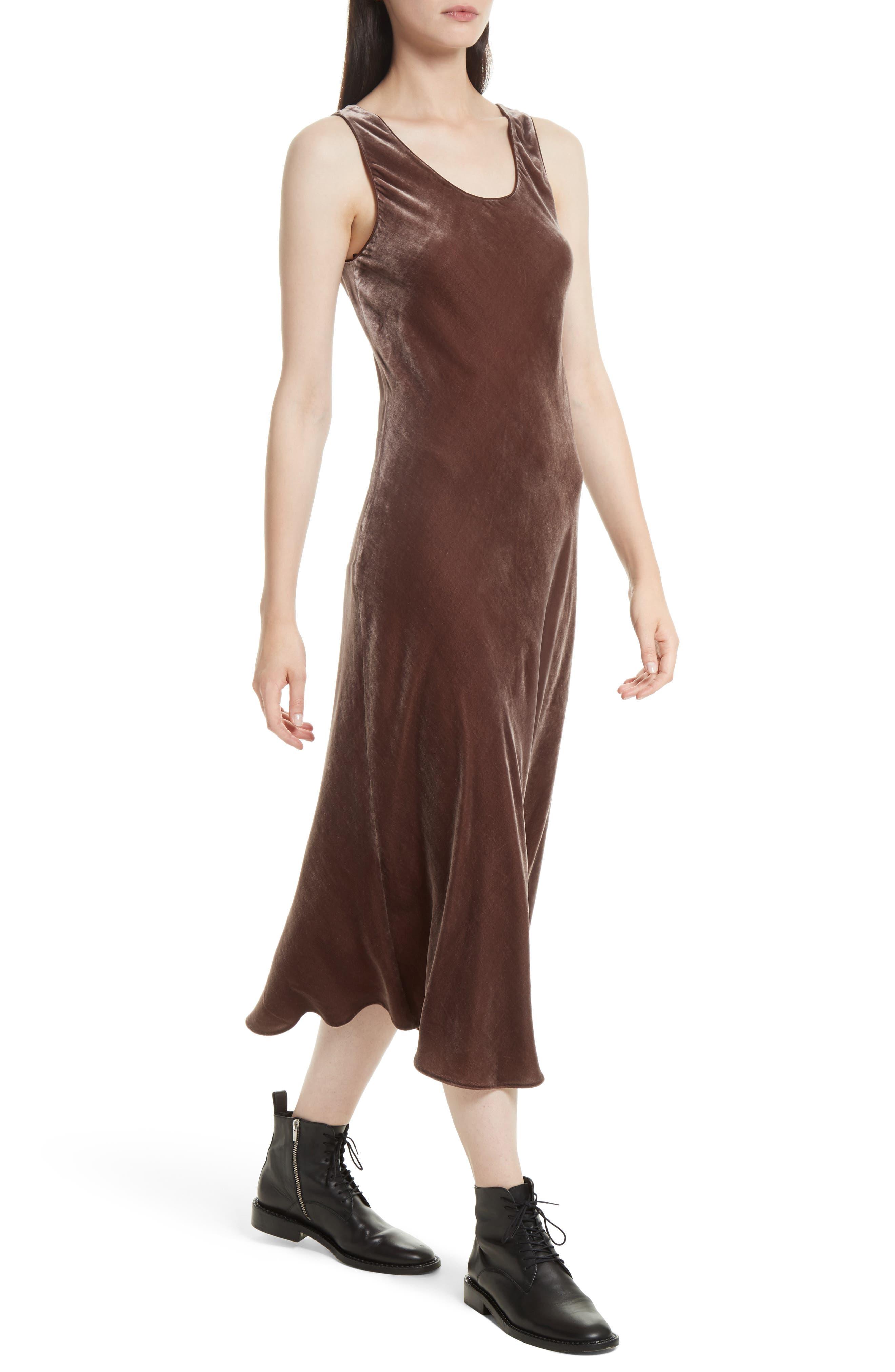 Velvet Tank Dress,                             Alternate thumbnail 4, color,                             Cocoa Bean