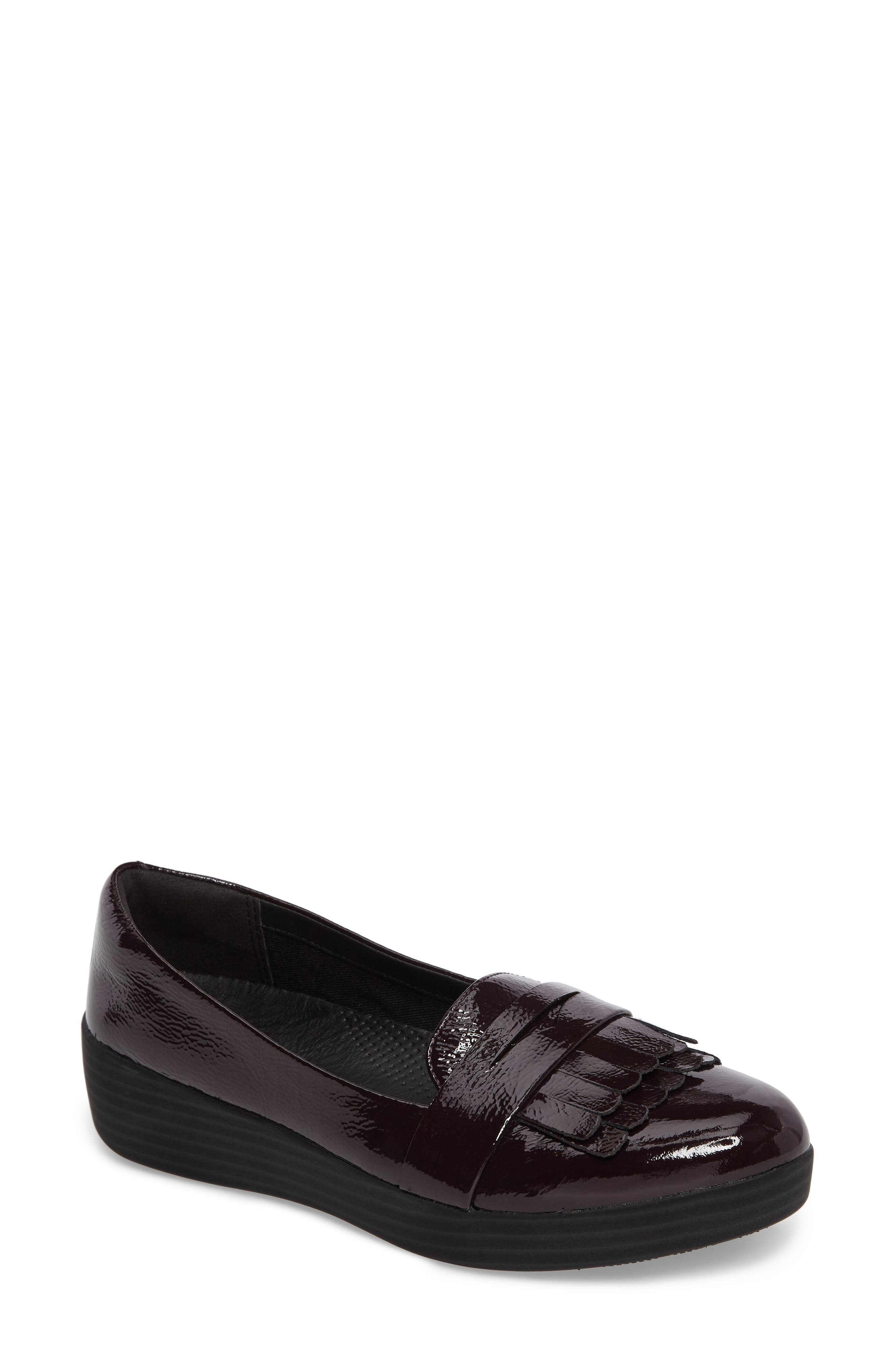 Fringey Sneakerloafer Slip-On,                             Main thumbnail 1, color,                             Deep Plum Leather